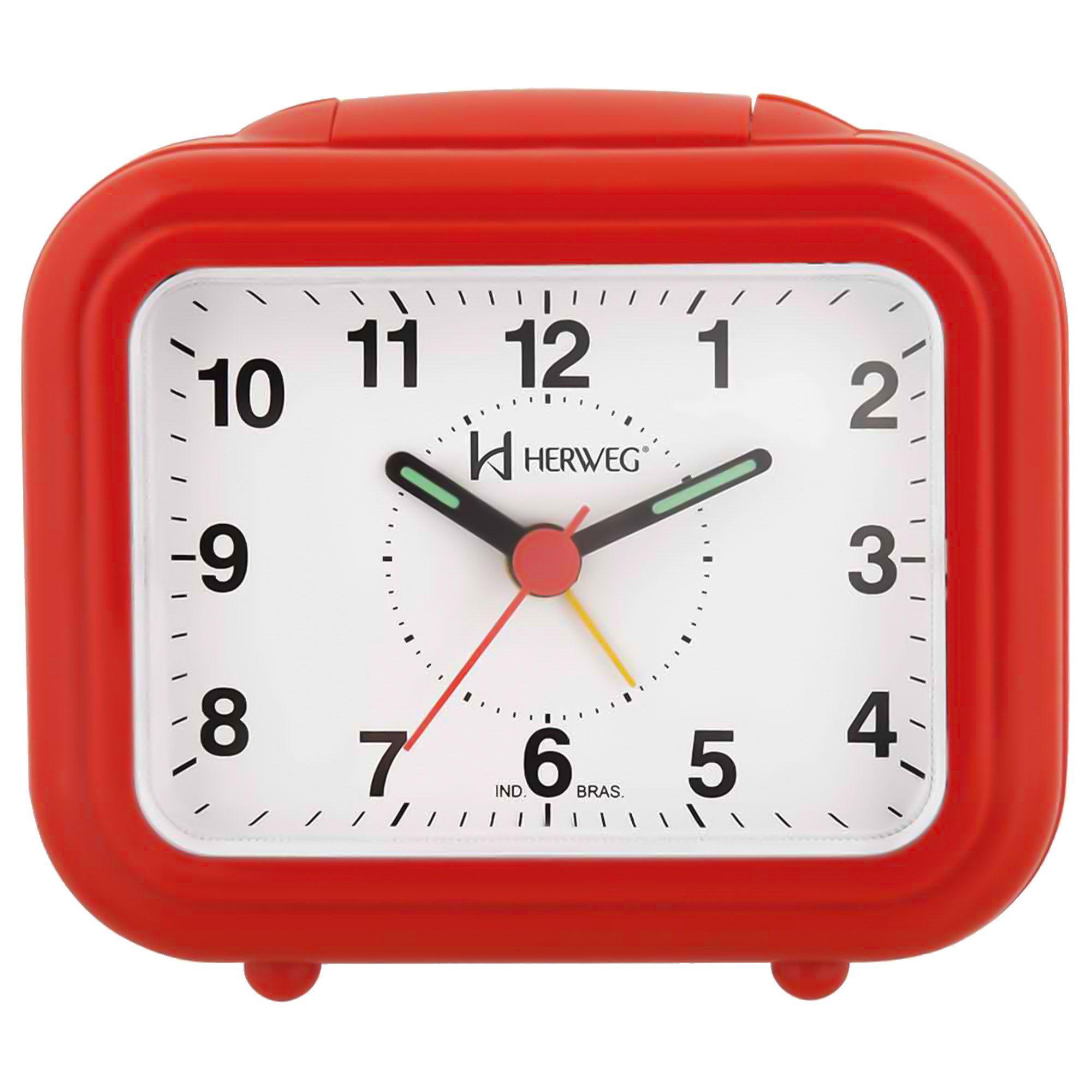Despertador Analógico Quartzo Herweg 2630 044 Vermelho