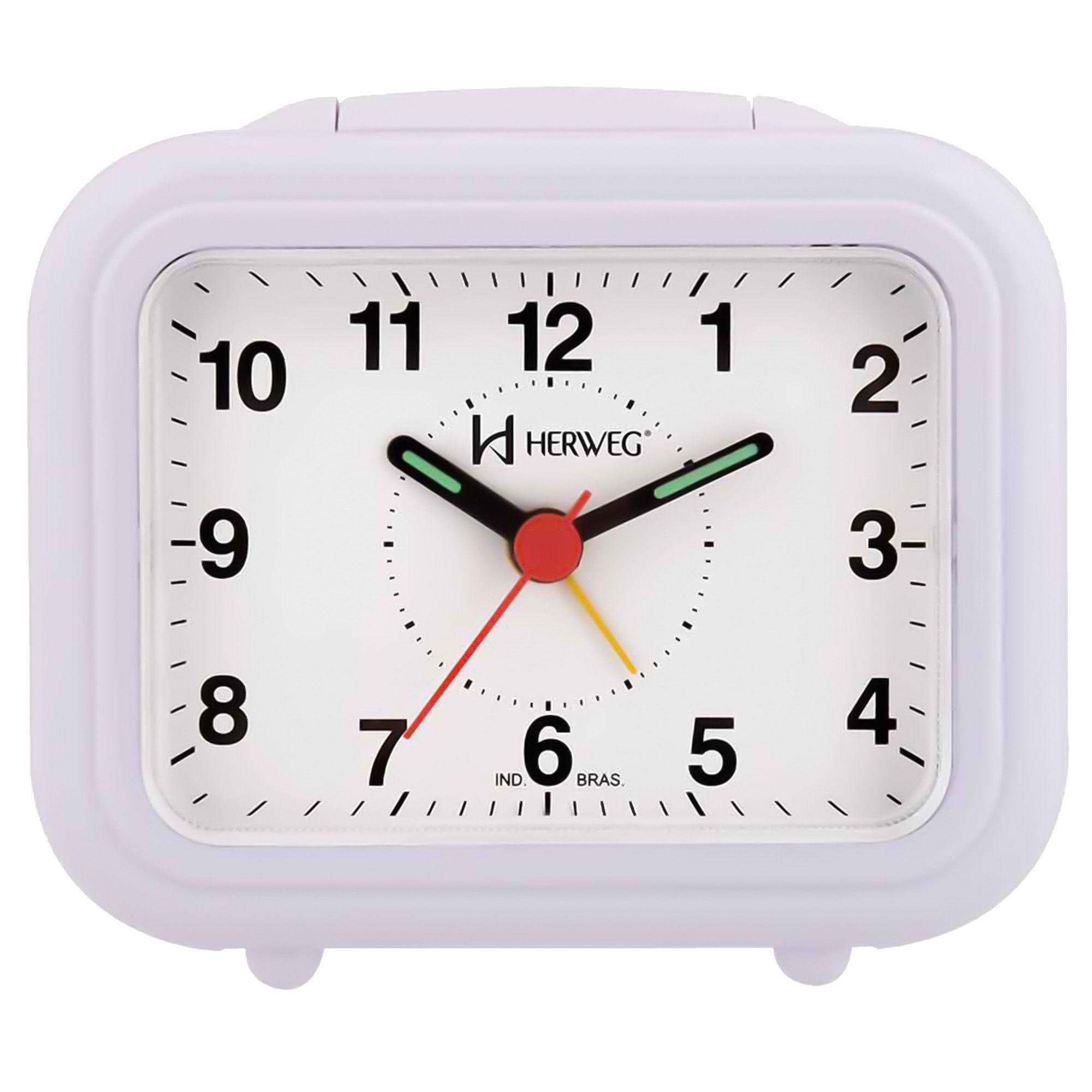 Despertador Analógico Quartzo Herweg 2630 087 Branco Anil