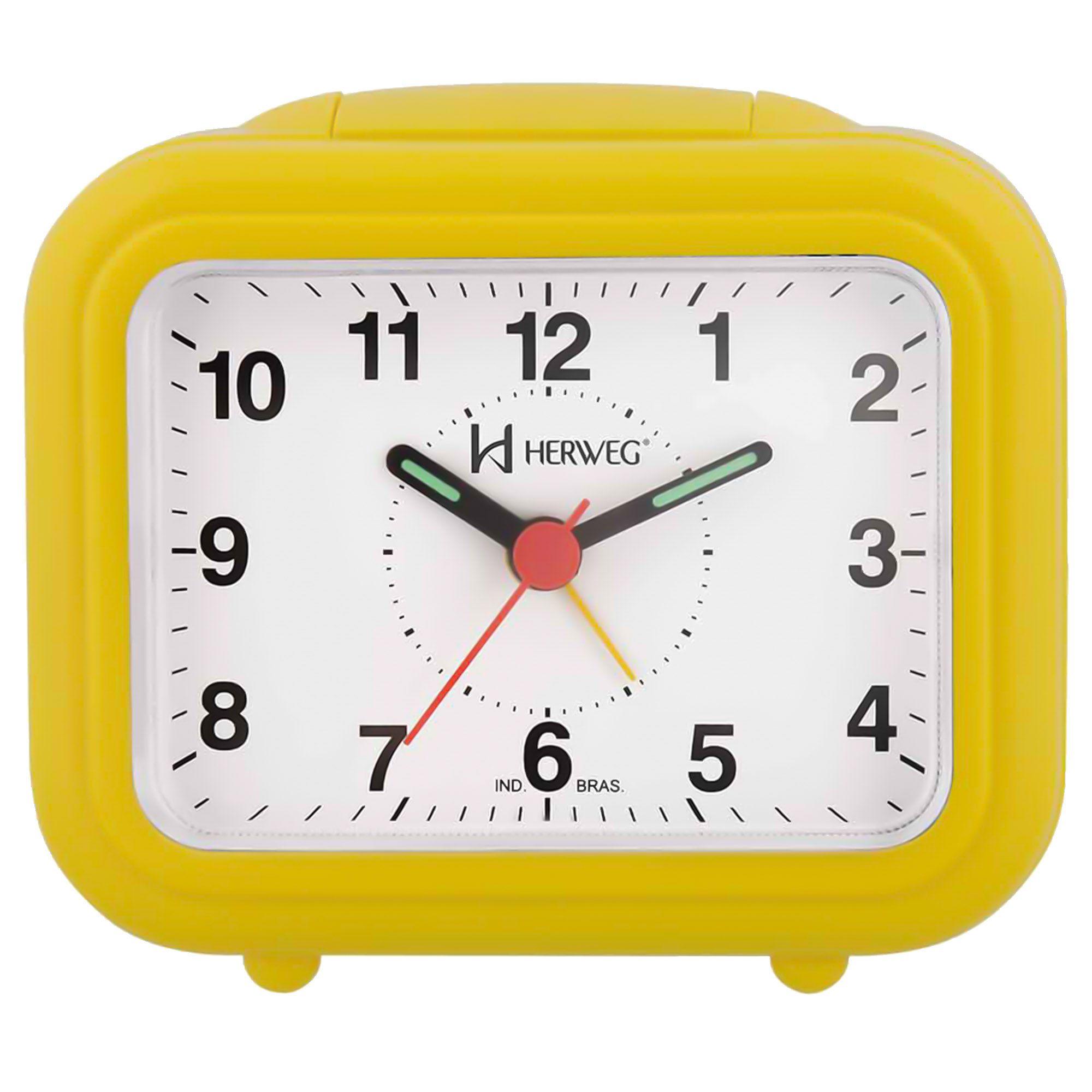Despertador Analógico Quartzo Herweg 2630 268 Amarelo Pantone