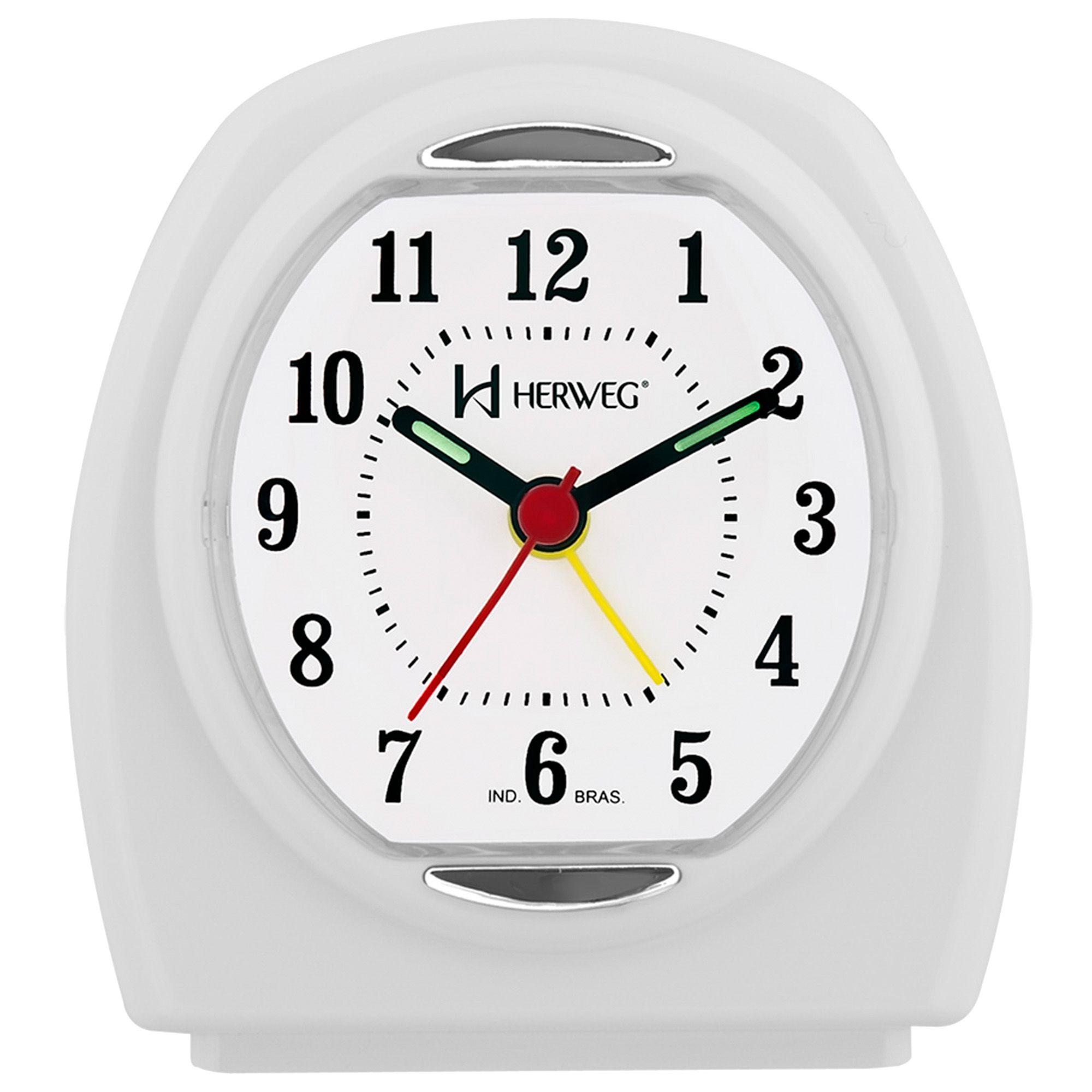 Despertador Analógico Quartzo Herweg 2633 021 Branco