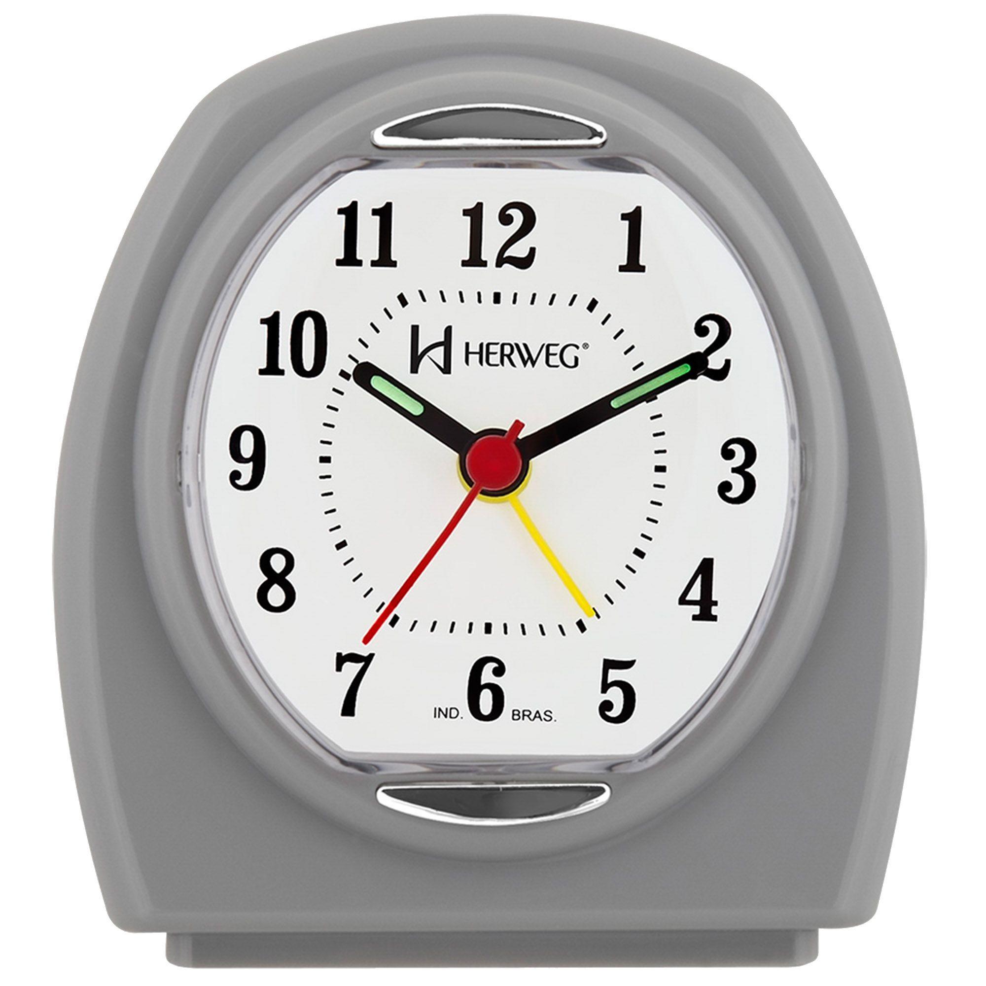 Despertador Analógico Quartzo Herweg 2633 024 Cinza