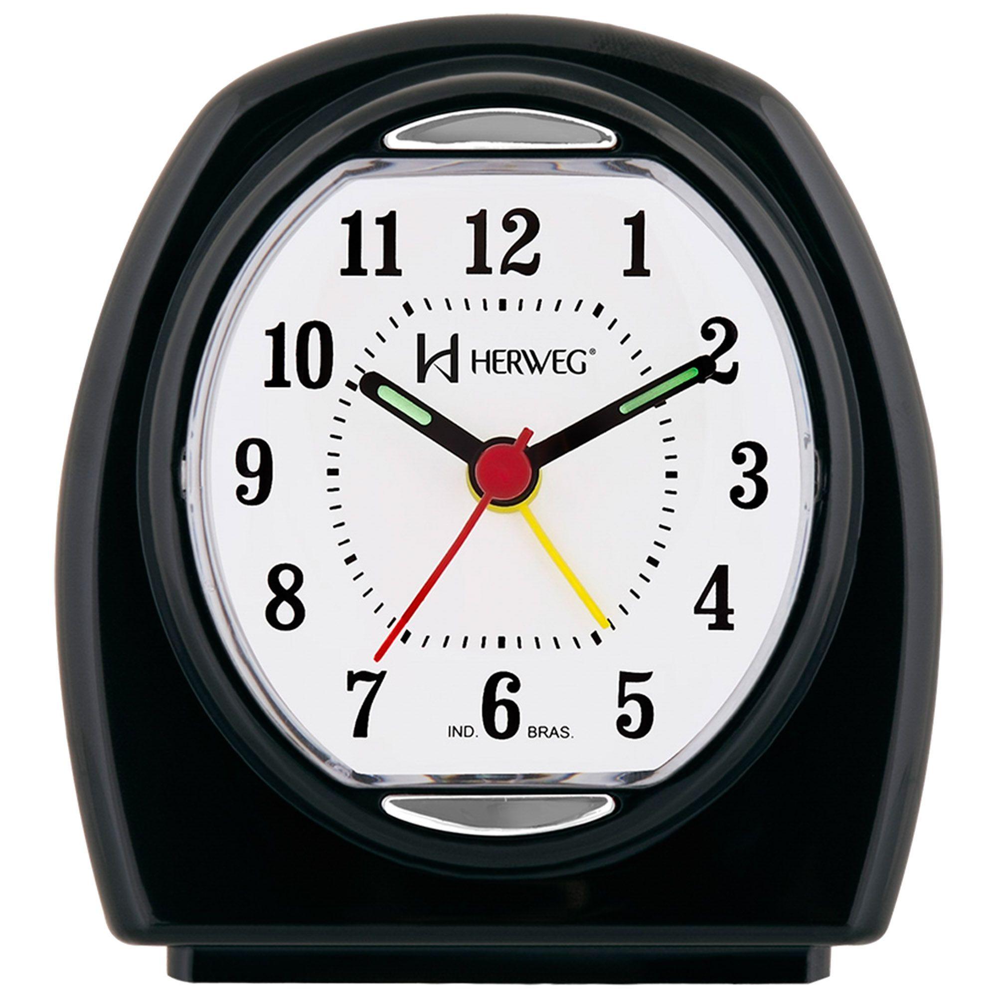 Despertador Analógico Quartzo Herweg 2633 034 Preto
