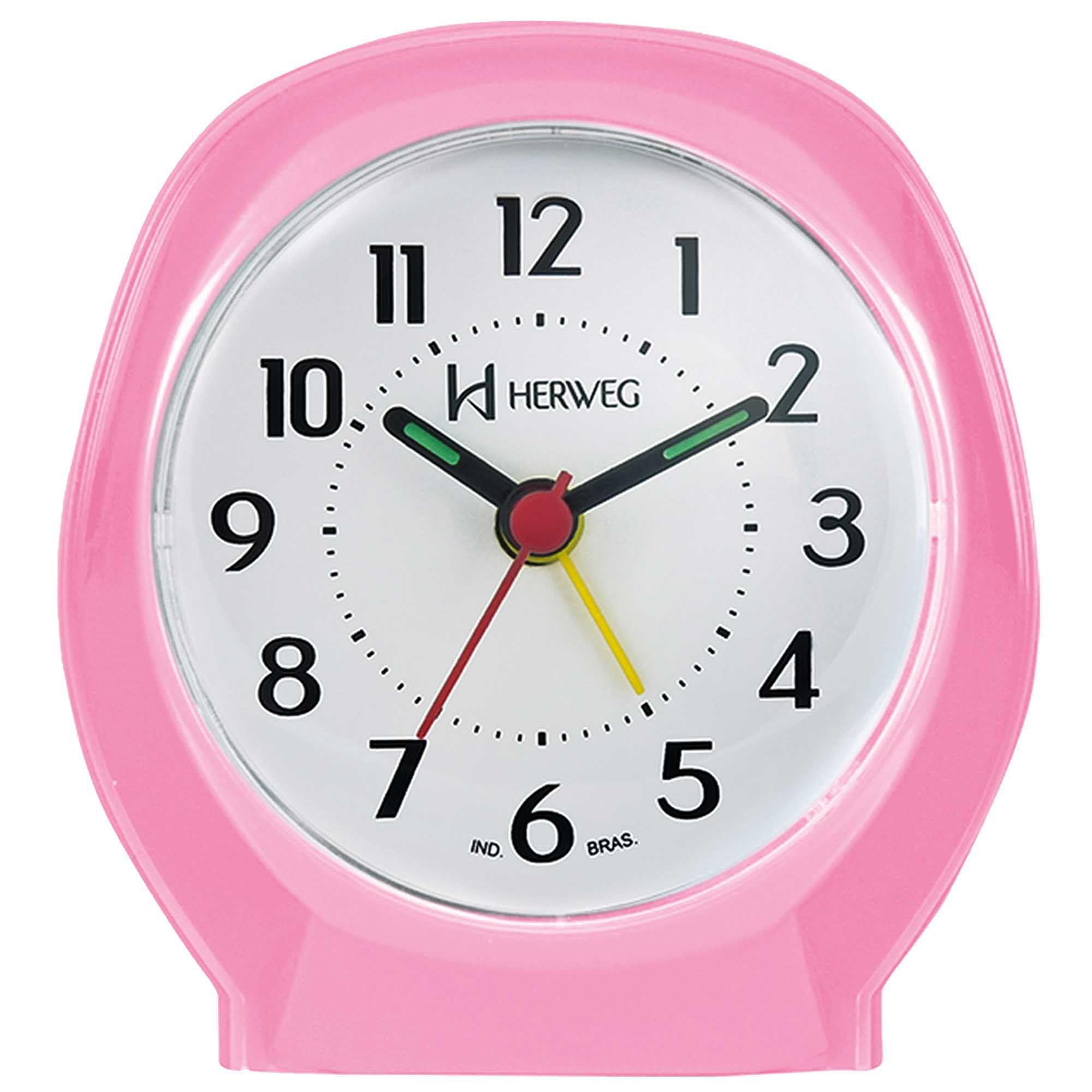 Despertador Analógico Quartzo Herweg 2634 036 Rosa Claro