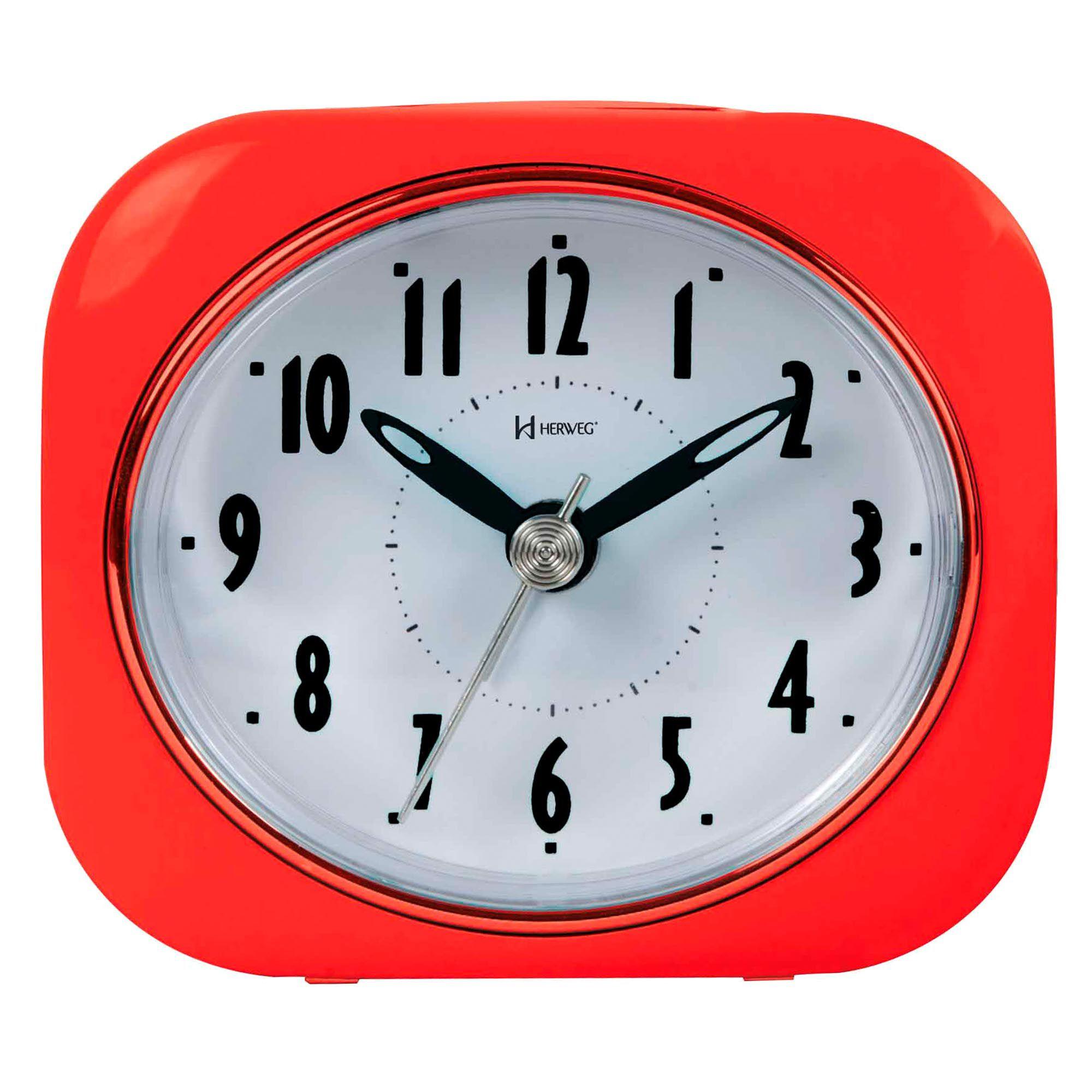 Despertador Analógico Quartzo Herweg 2705 044 Vermelho