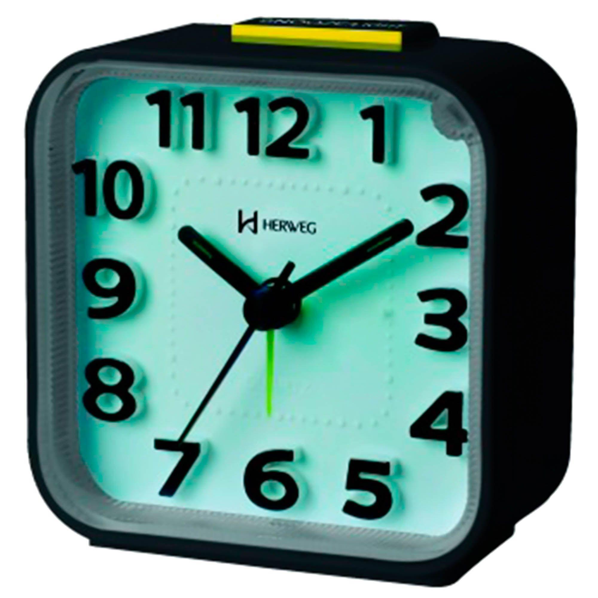 Despertador Analógico Quartzo Herweg 2706 034 Preto
