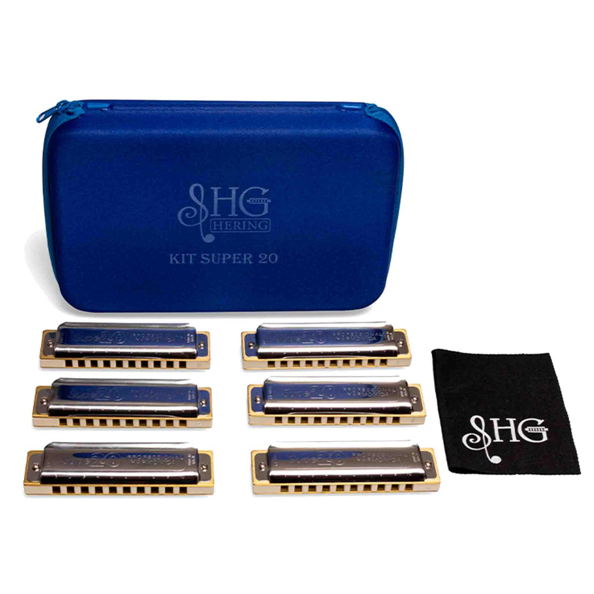 Gaita de Boca Harmônica Diatônica Hering 80120 Kit com 6 peças