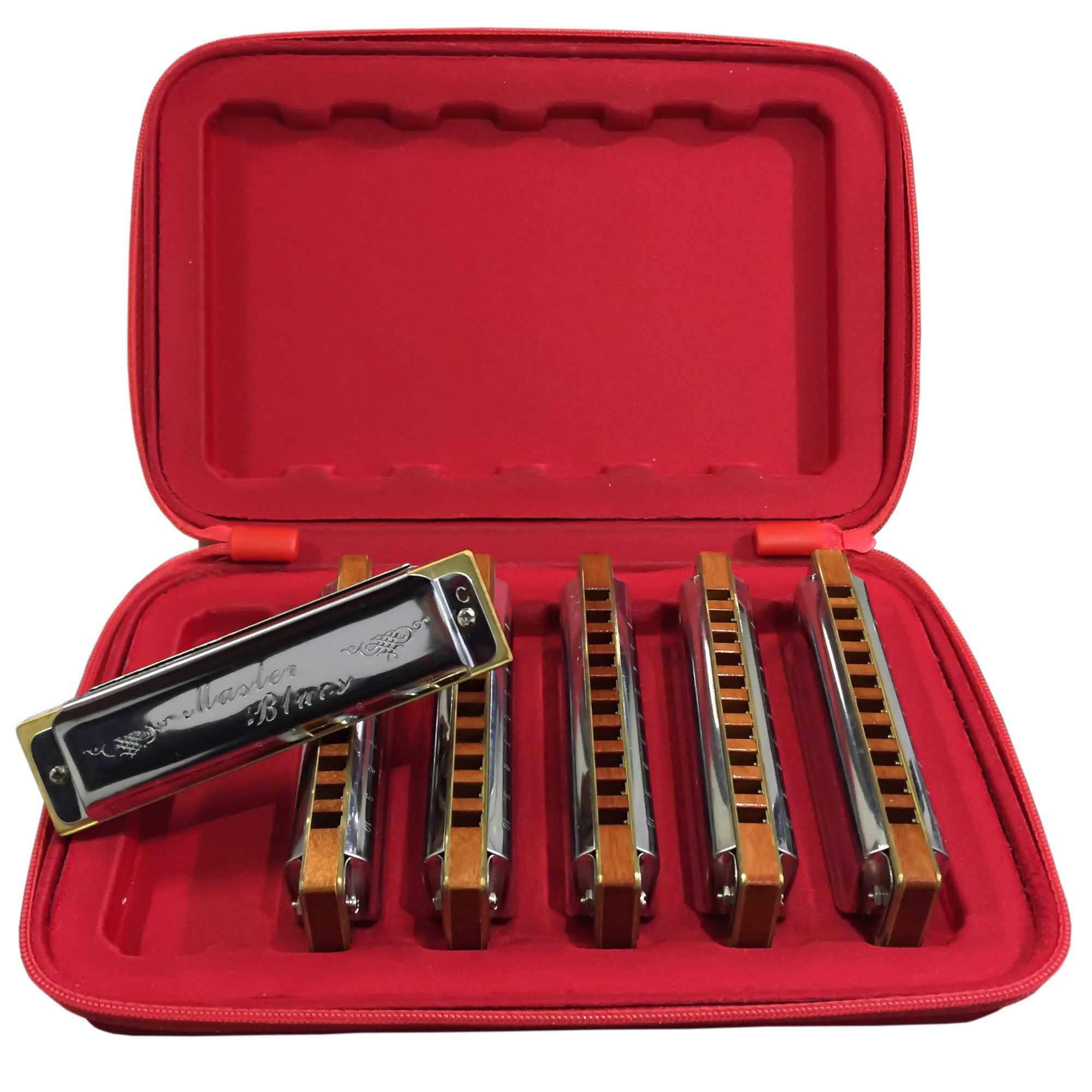 Gaita de Boca Harmônica Diatônica Hering 90120 Kit com 6 peças