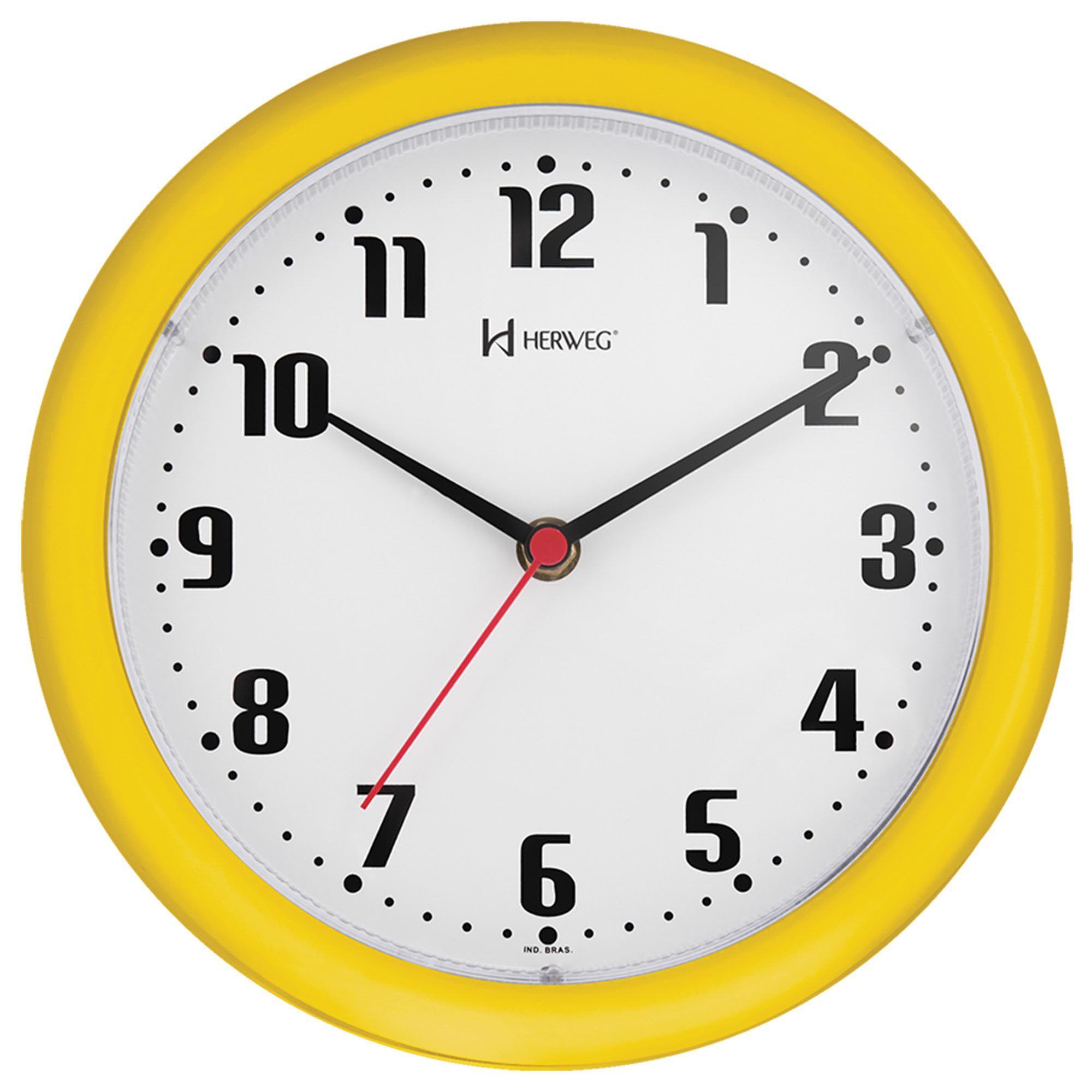Relógio de Parede Analógico Herweg 6102 268 Amarelo Pantone