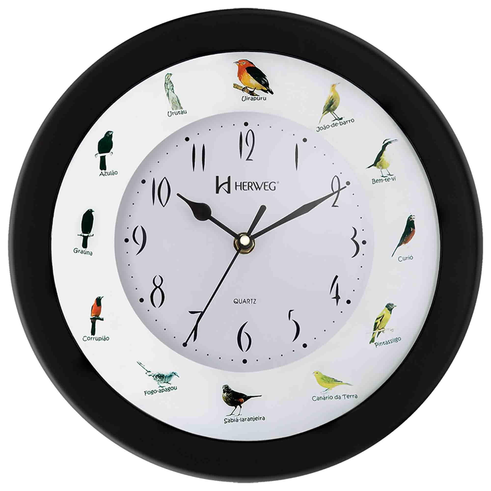 Relógio de Parede Analógico Herweg 6370 035 Preto