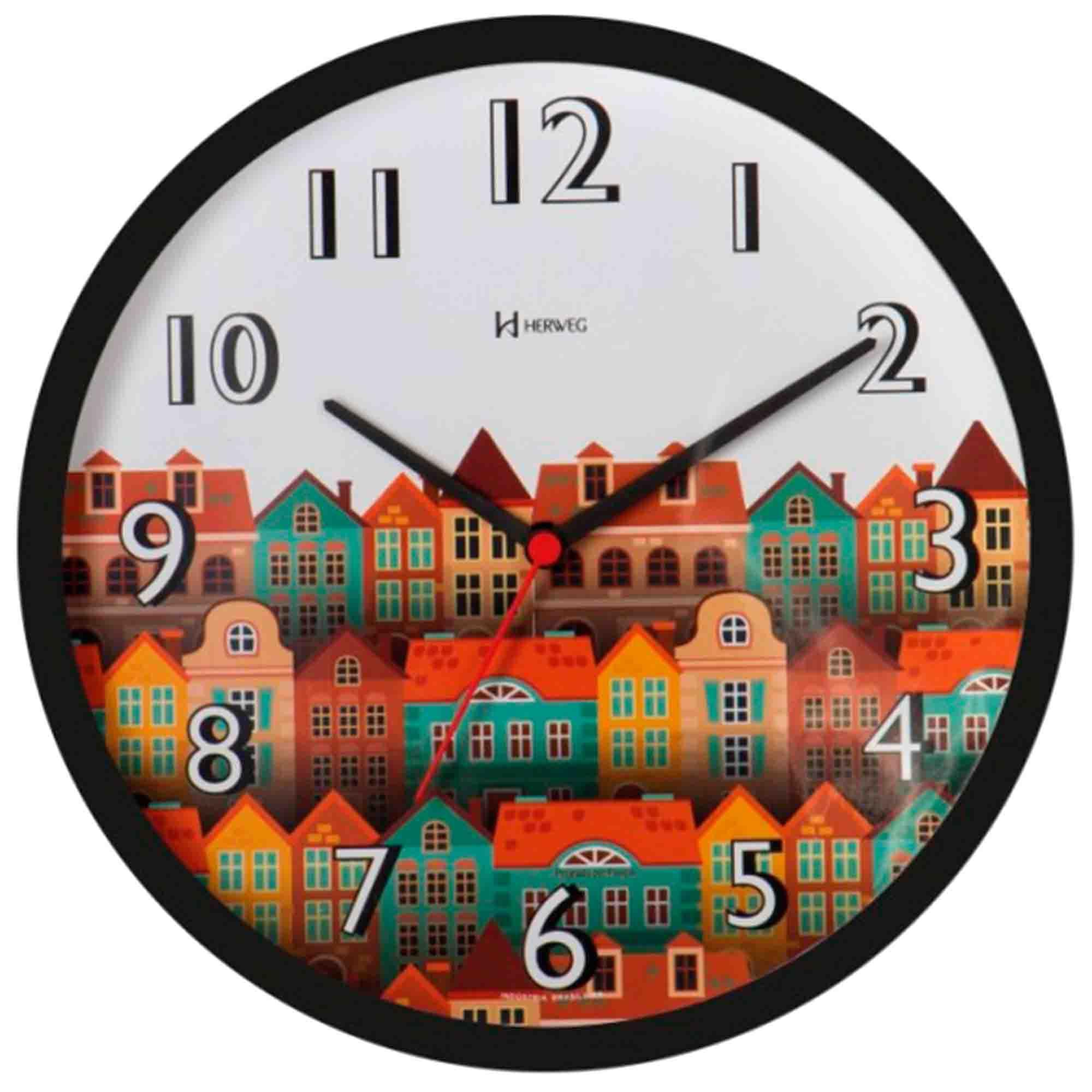 Relógio de Parede Analógico Herweg 660010 034 Preto
