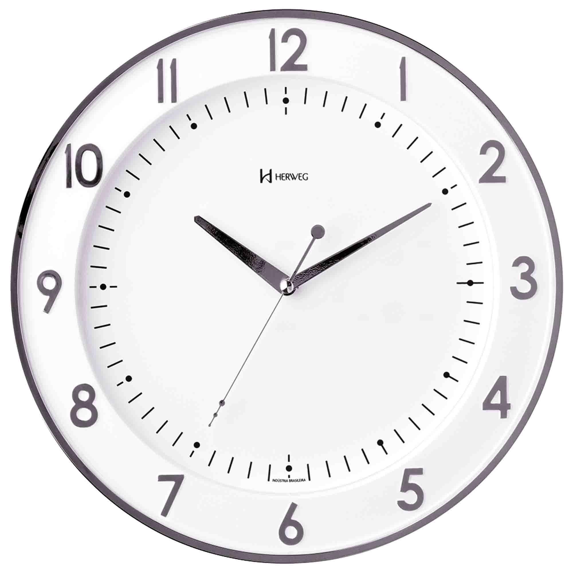 Relógio de Parede Analógico Herweg 6806 028 Cromado