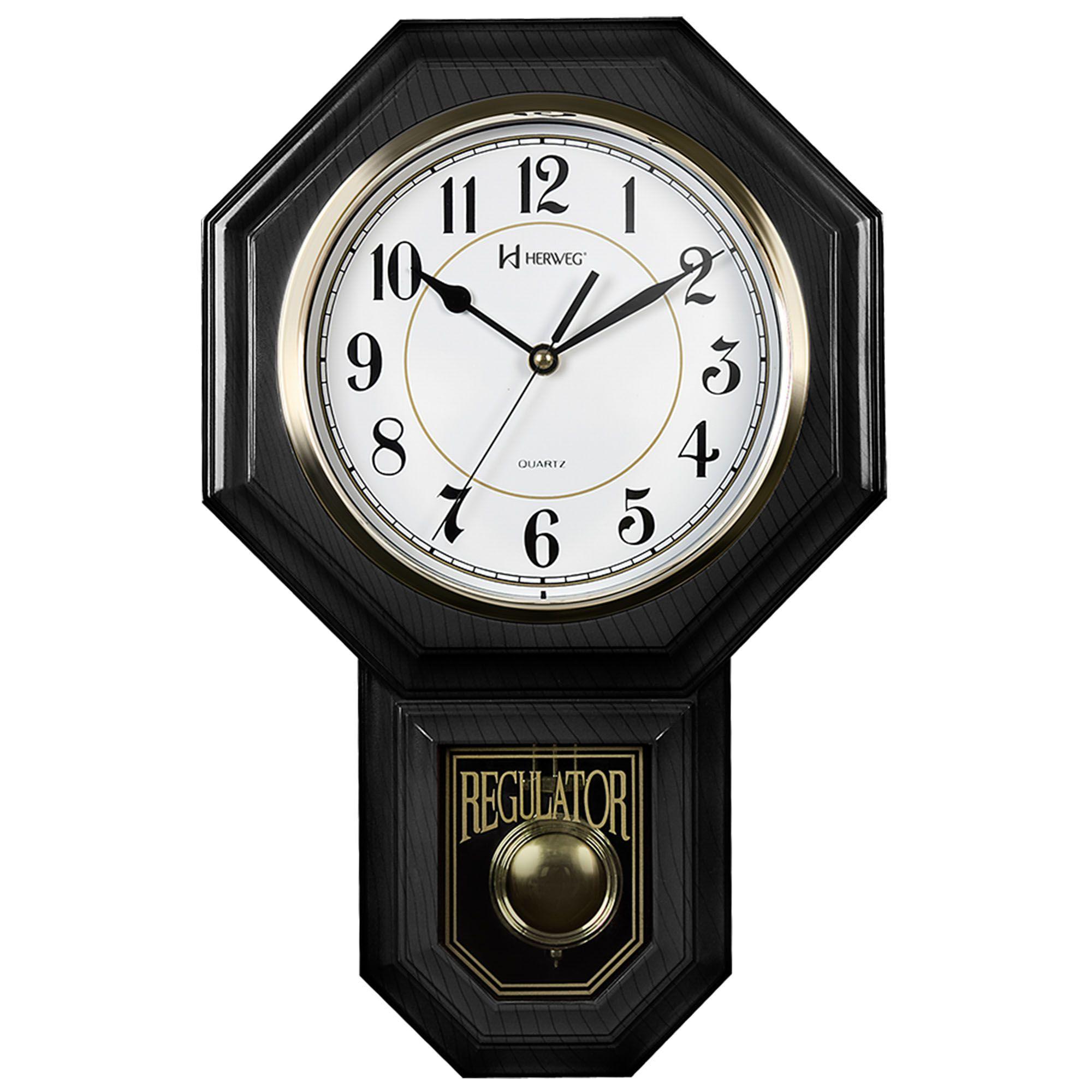 Relógio de Parede Pêndulo Herweg 5304 034 Preto