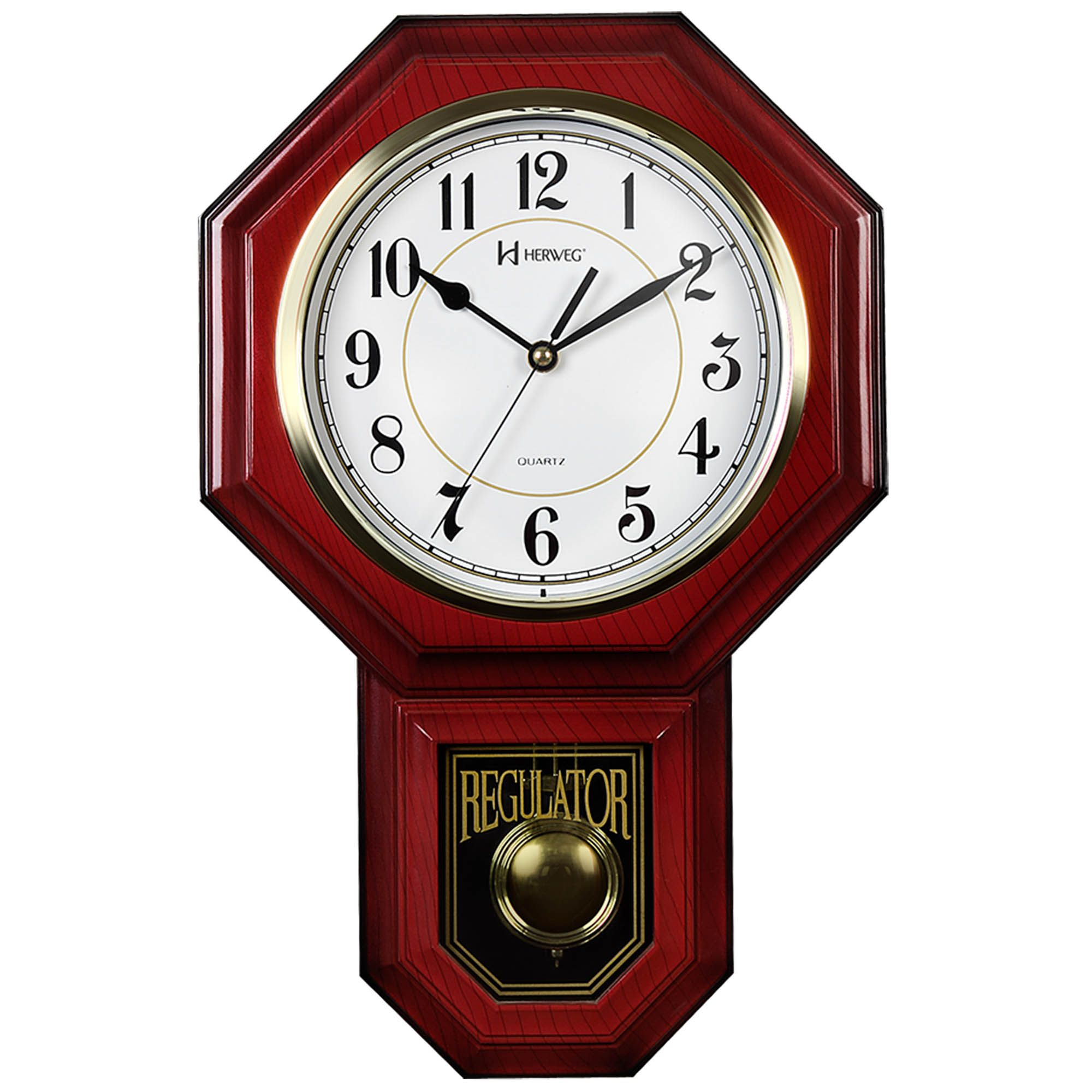 Relógio de Parede Pêndulo Herweg 5304 115 Mogno