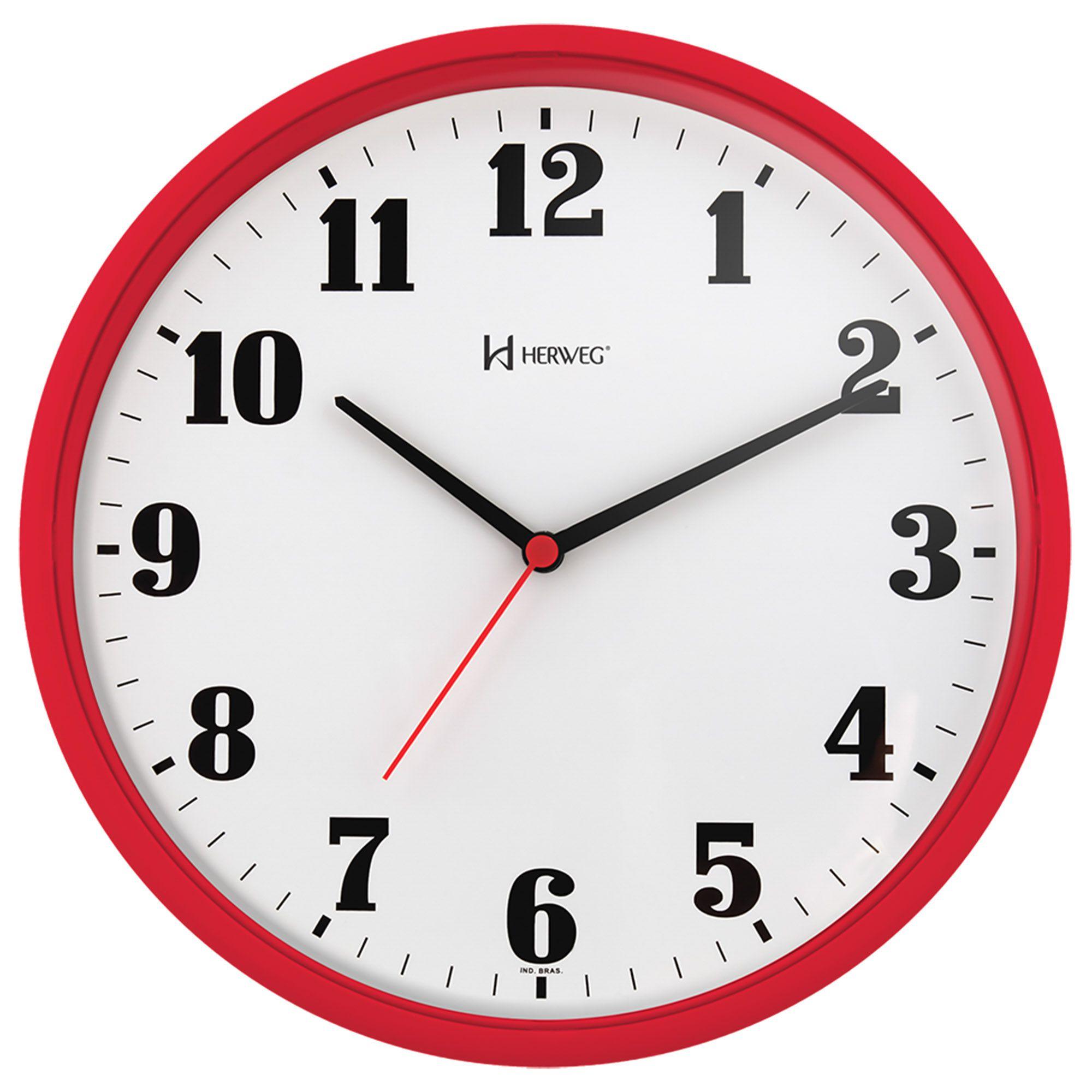 Relógio de Parede Analógico Herweg 6126 269 Vermelho Pantone