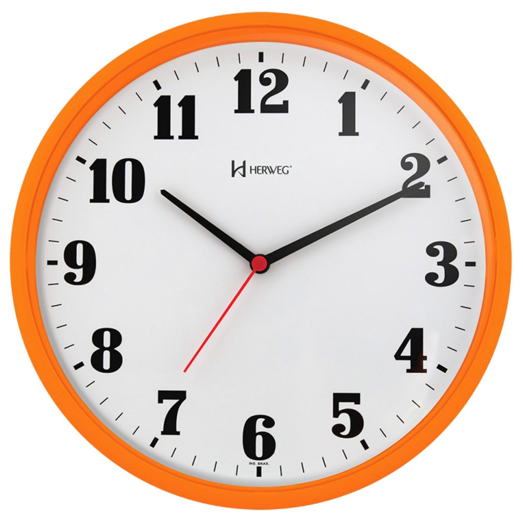 Relógio de Parede Analógico Herweg 6126 270 Laranja Pantone