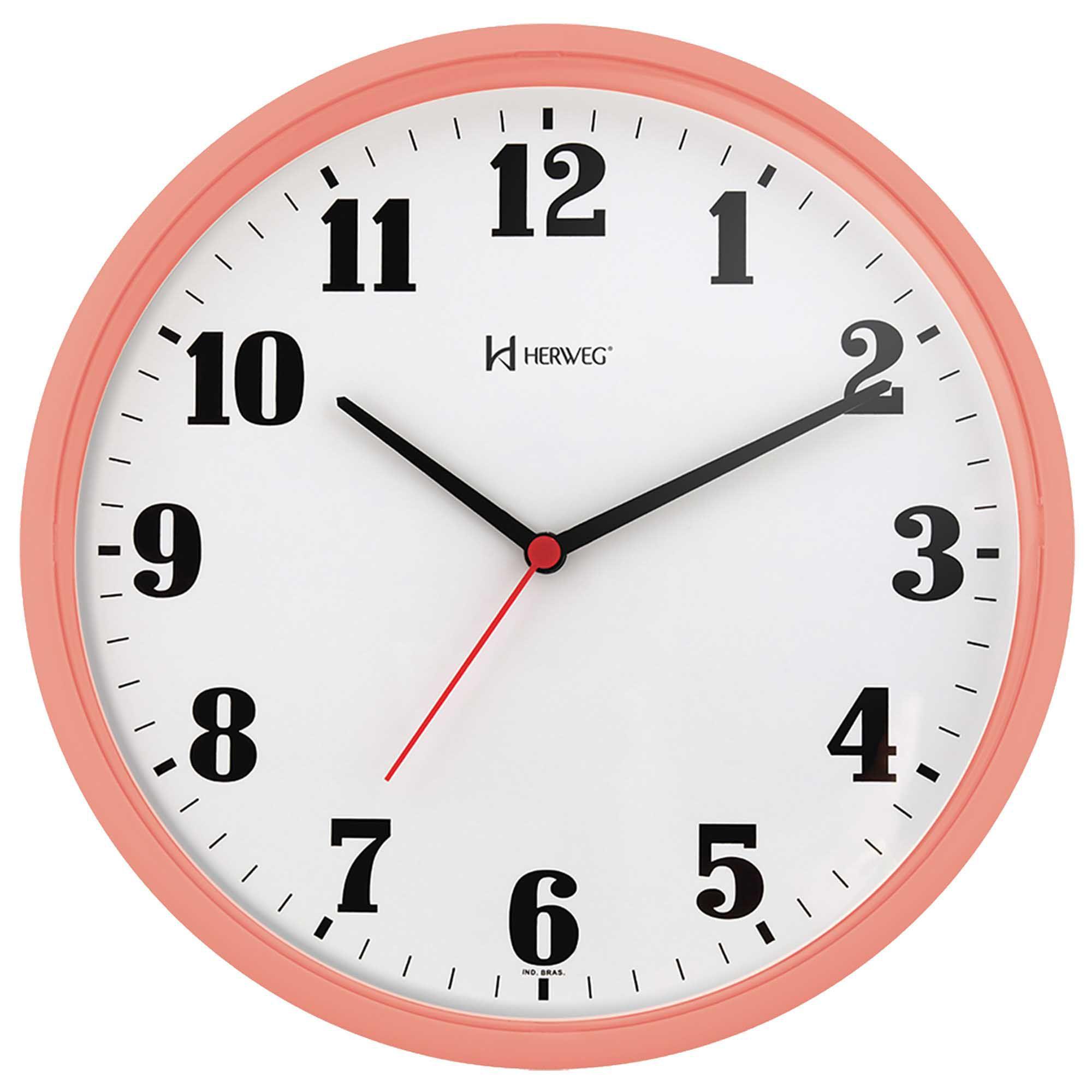 Relógio de Parede Analógico Herweg 6126 313 Salmão