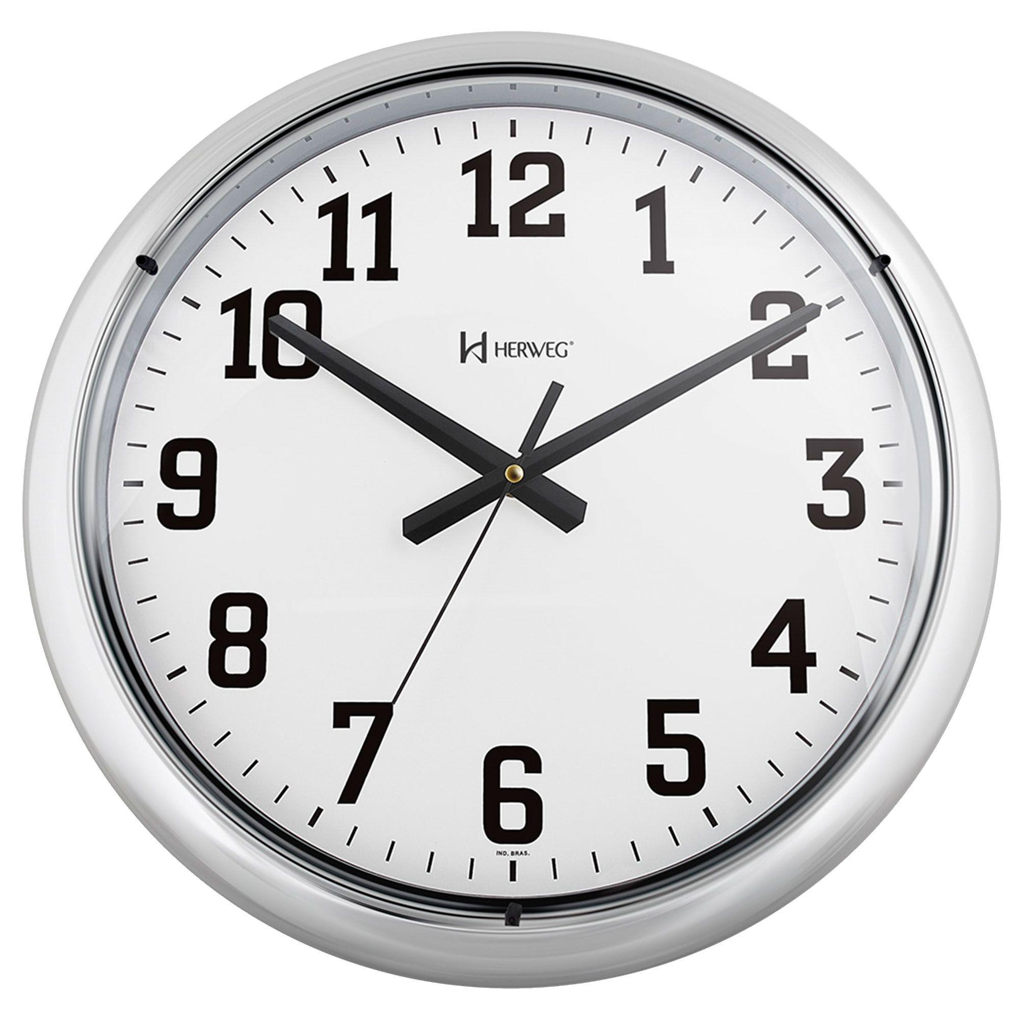 Relógio de Parede Analógico Herweg 6128 028 Cromado