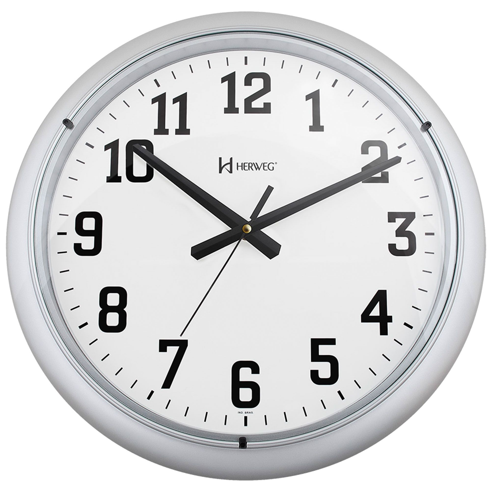 Relógio de Parede Analógico Herweg 6129 070 Prata Metálico