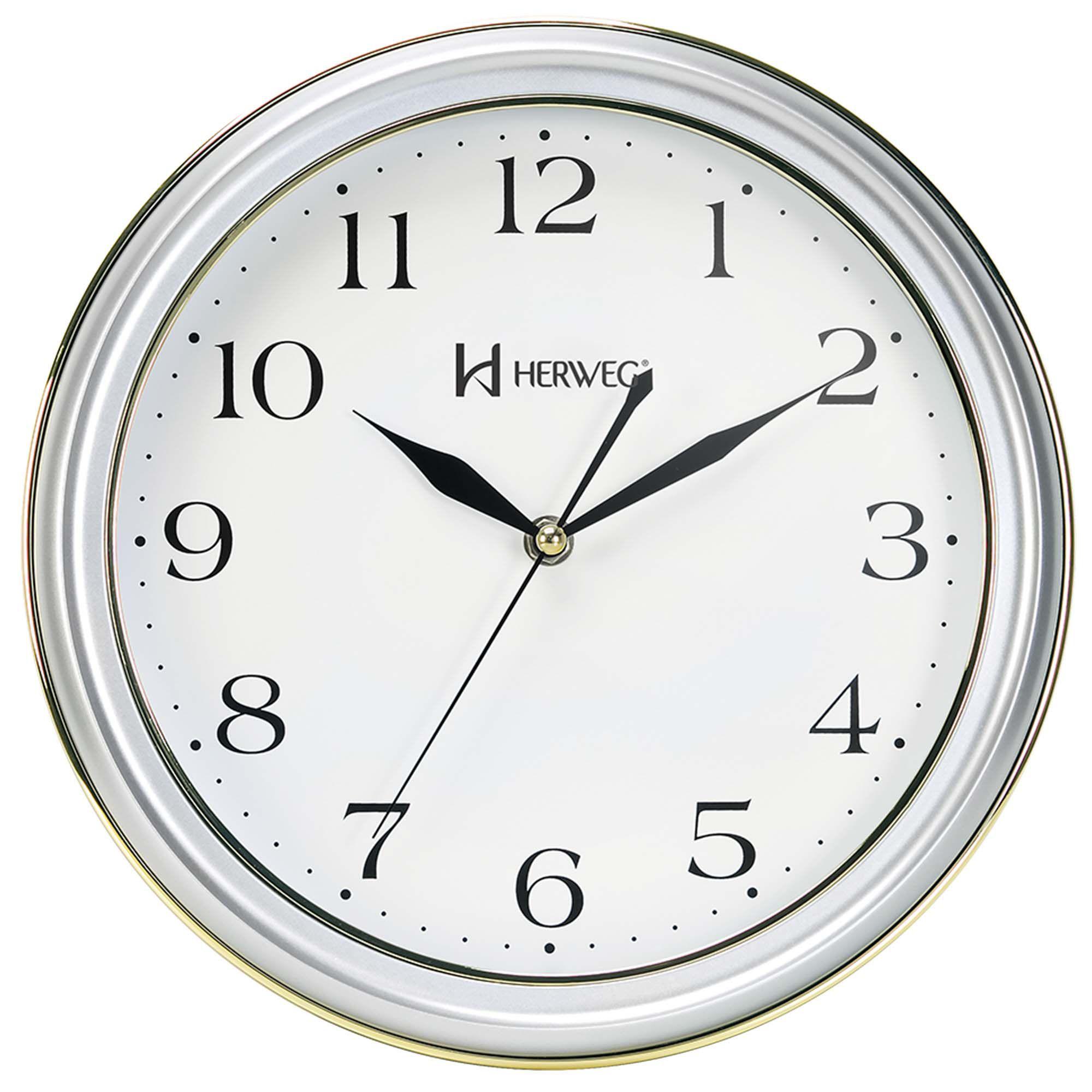 Relógio de Parede Analógico Herweg 6254 070 Prata Metálico