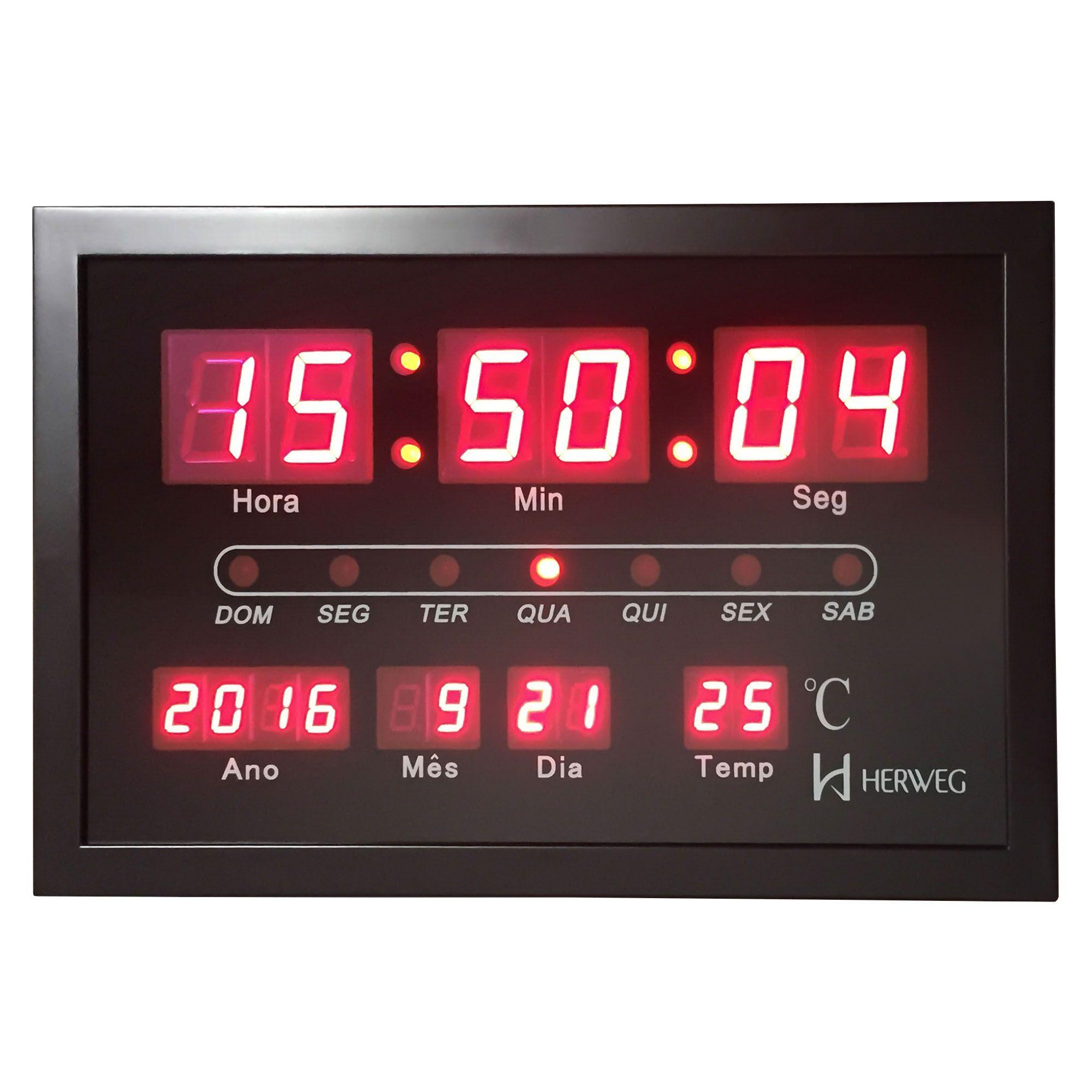 Relógio de Parede Digital Herweg 6289 034 Preto