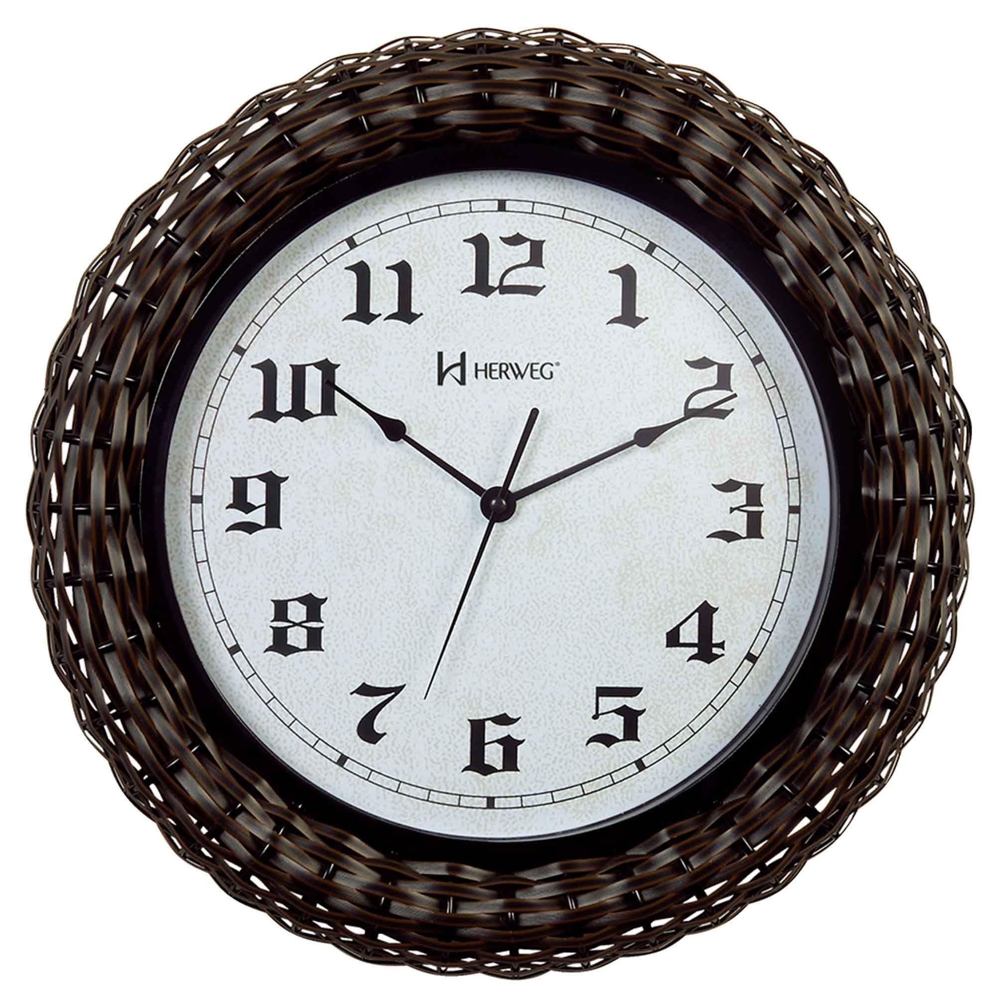Relógio de Parede Analógico Herweg 6361 034 Preto e Marrom