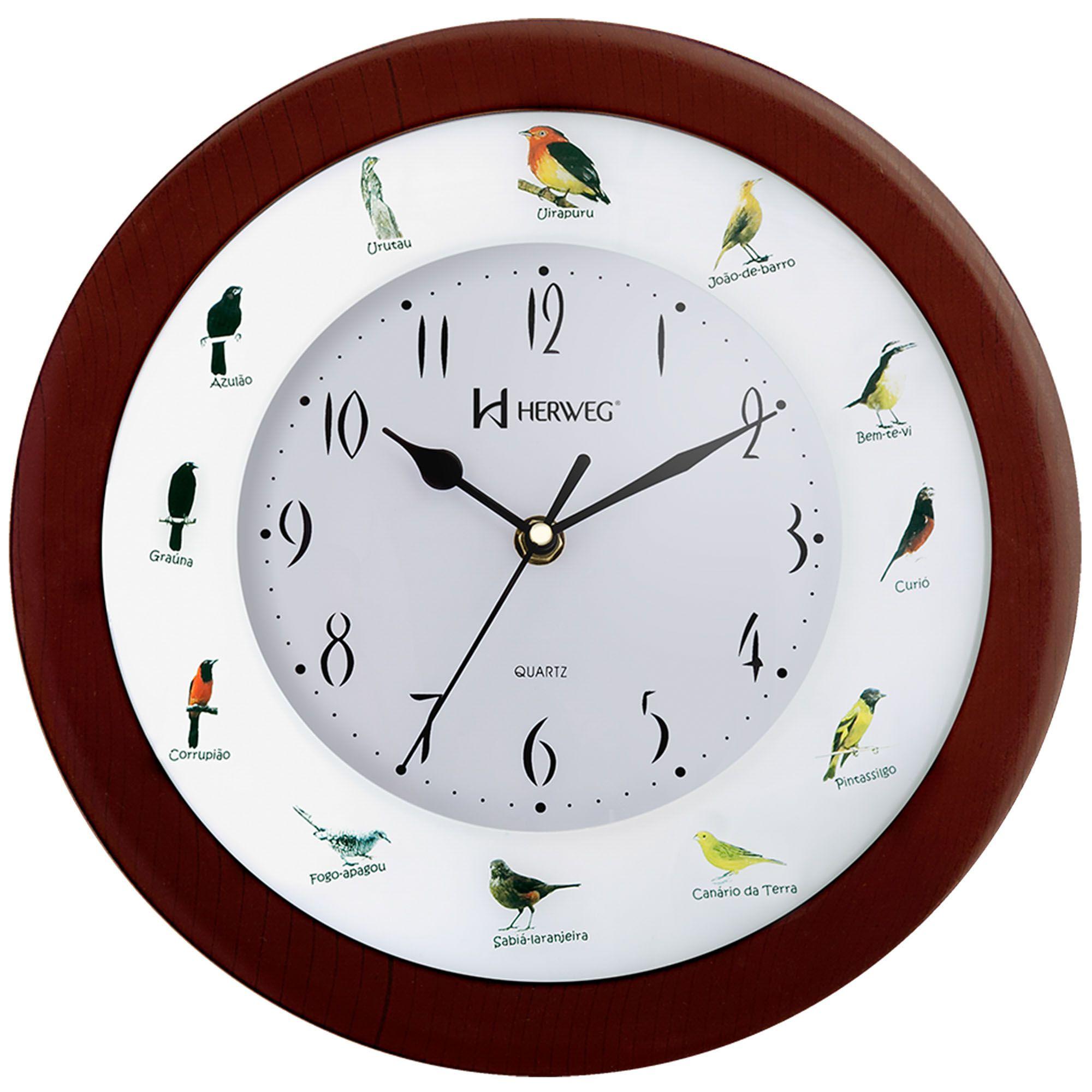 Relógio de Parede Analógico Herweg 6370 084 Marrom Ipê