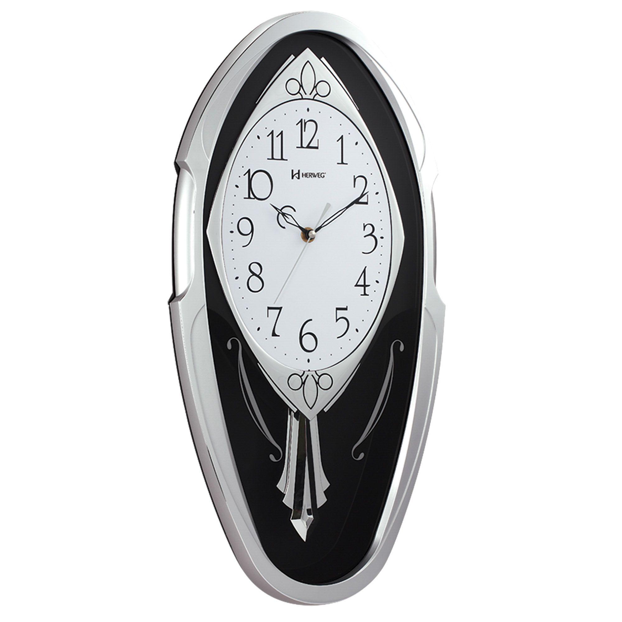 Relógio de Parede Pêndulo Herweg 6389 070 Prata Metálico