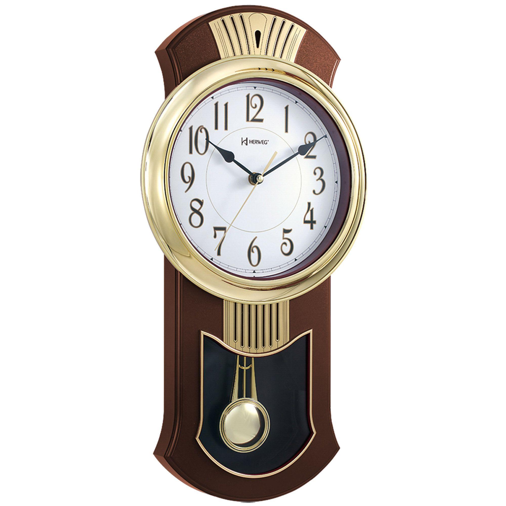 Relógio de Parede Pêndulo Herweg 6392 084 Marrom Ipê