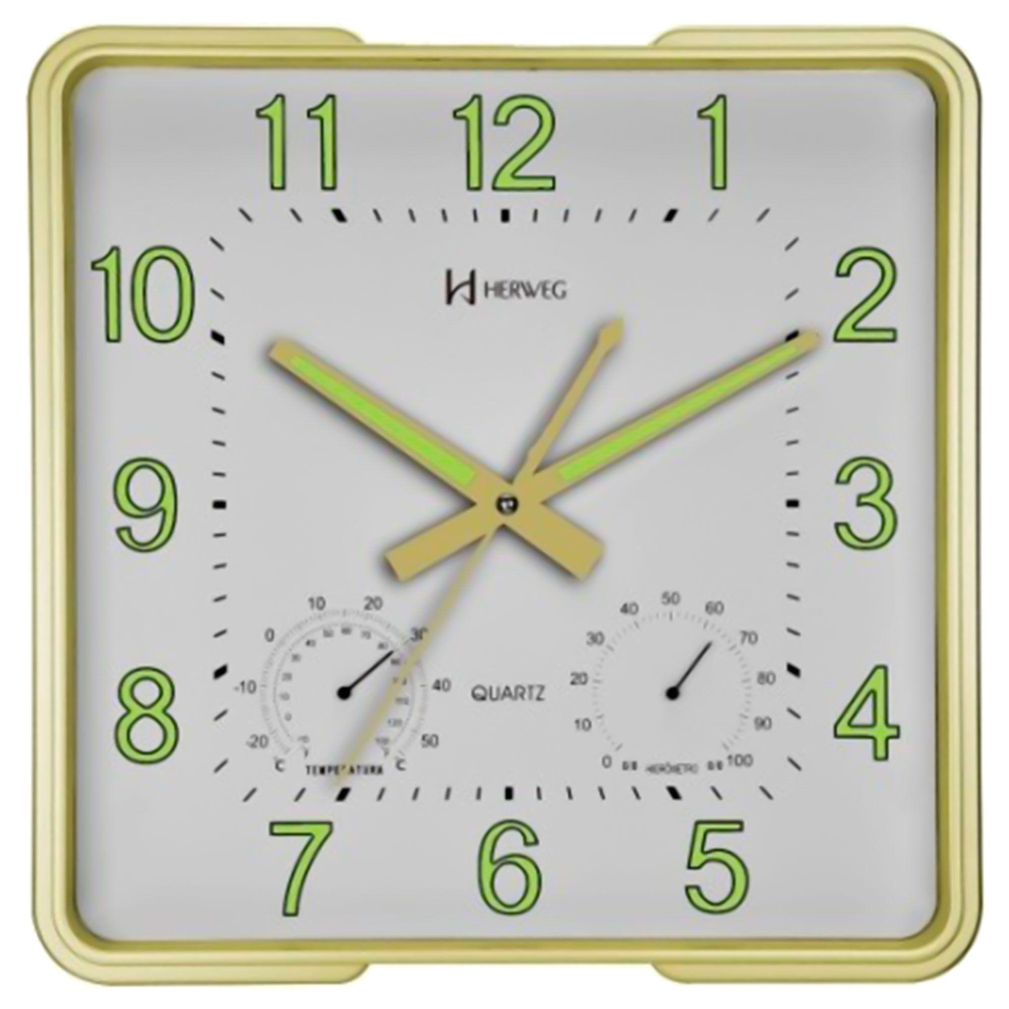 Relógio de Parede Analógico Herweg 6434 029 Dourado Claro