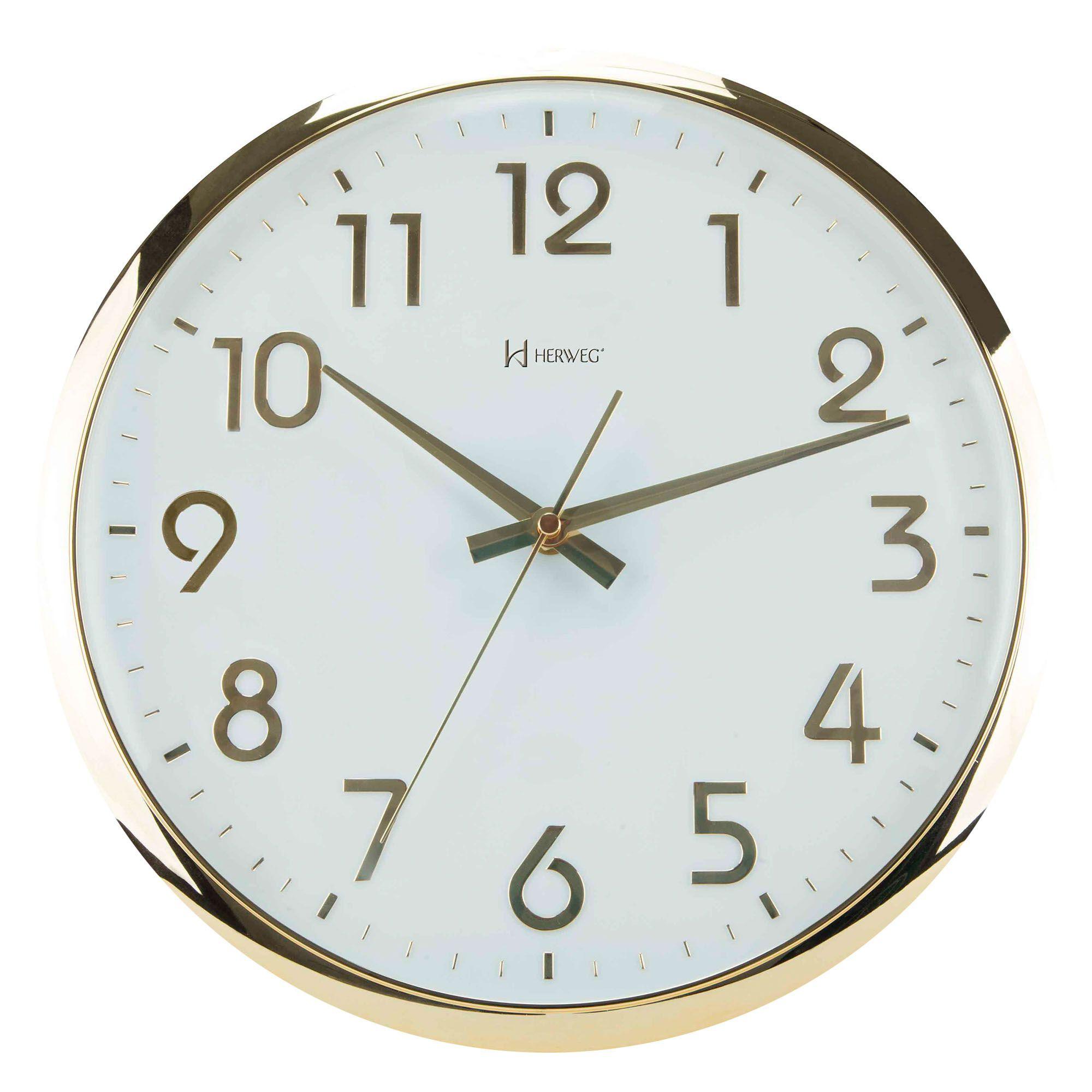 Relógio de Parede Analógico Herweg 6436 029 Dourado Claro