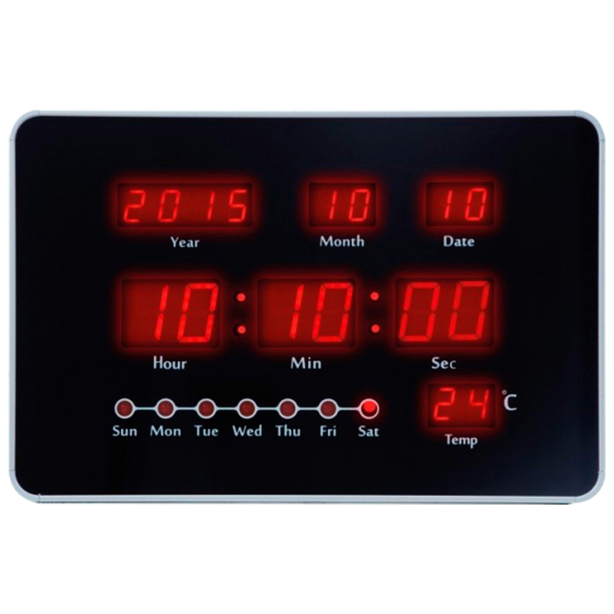 Relógio de Parede Digital Herweg 6455 070 Prata Metálico