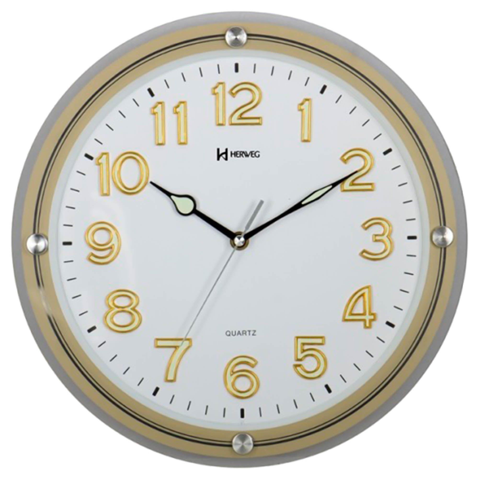 Relógio de Parede Analógico Herweg 6461 067 Champanhe Claro Metálico