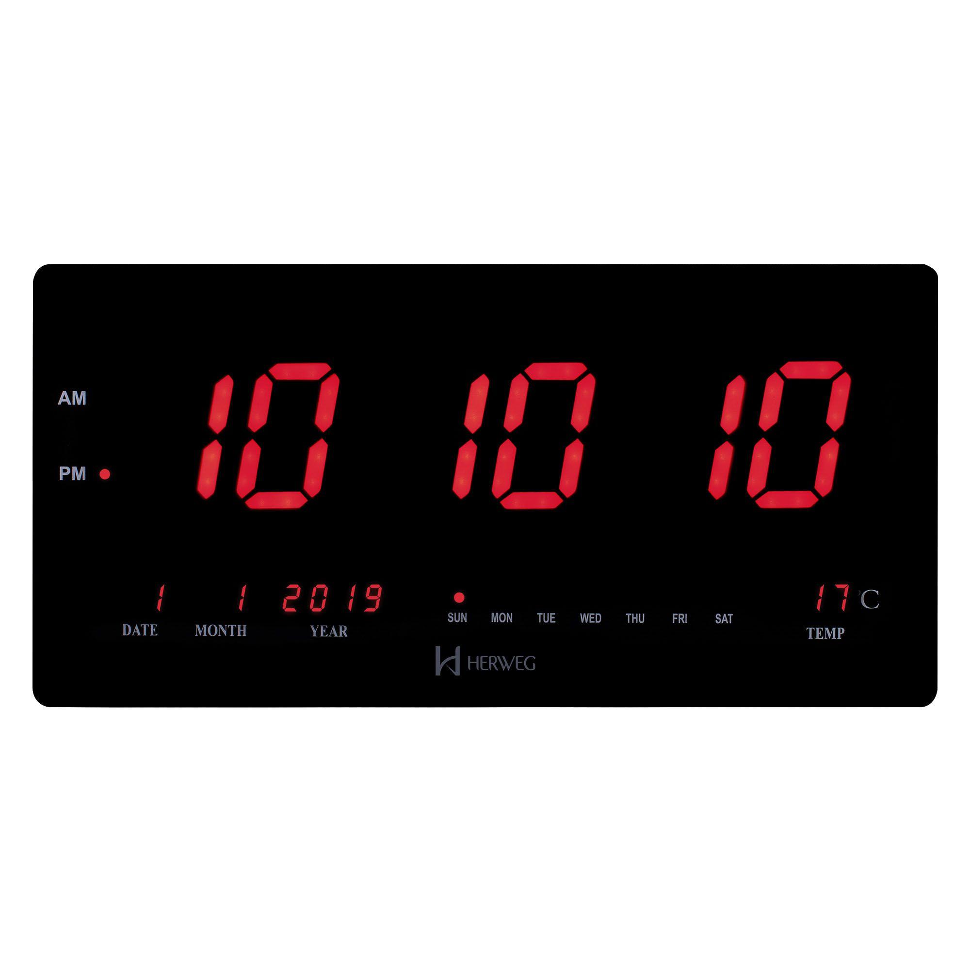 Relógio de Parede Digital Herweg 6464 034 Preto