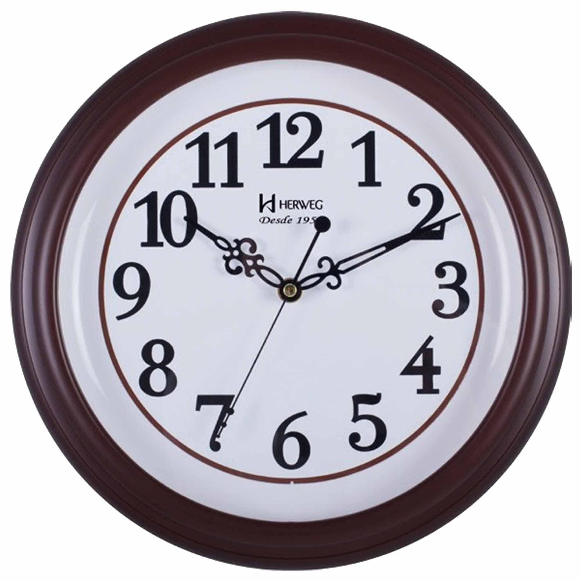 Relógio de Parede Analógico Herweg 6467 084 Marrom Ipê