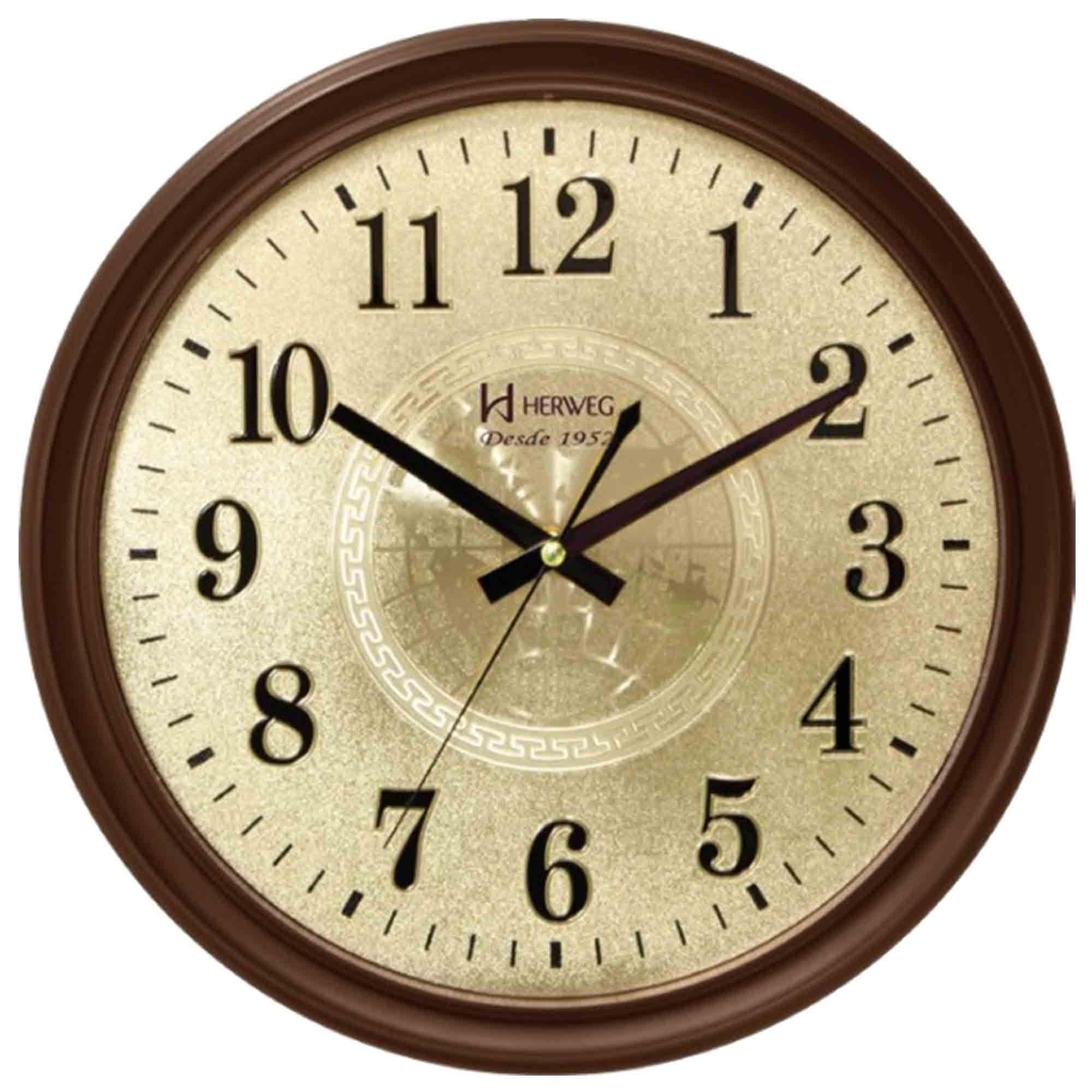 Relógio de Parede Analógico Herweg 6468 084 Marrom Ipê