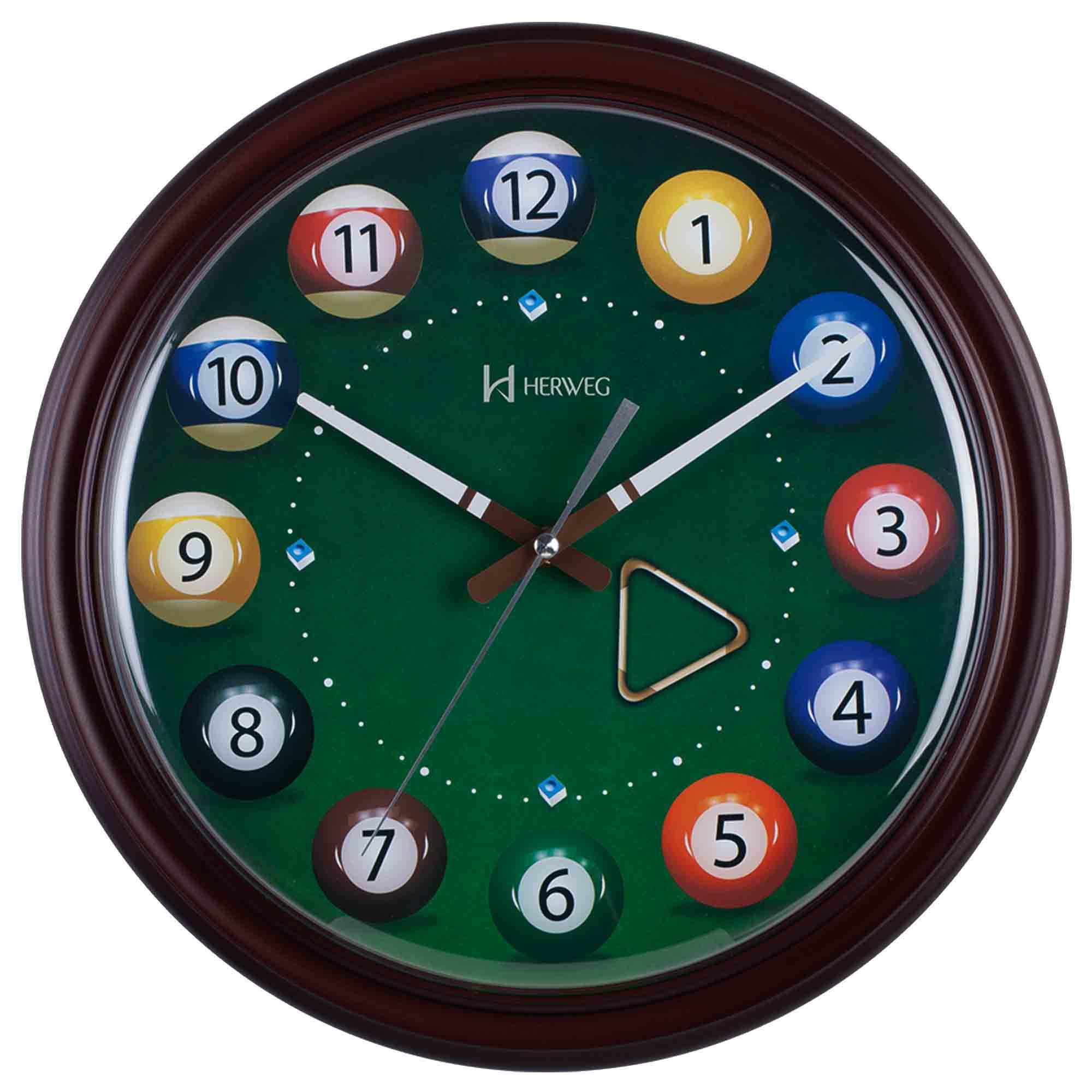 Relógio de Parede Analógico Herweg 6469 084 Marrom Ipê