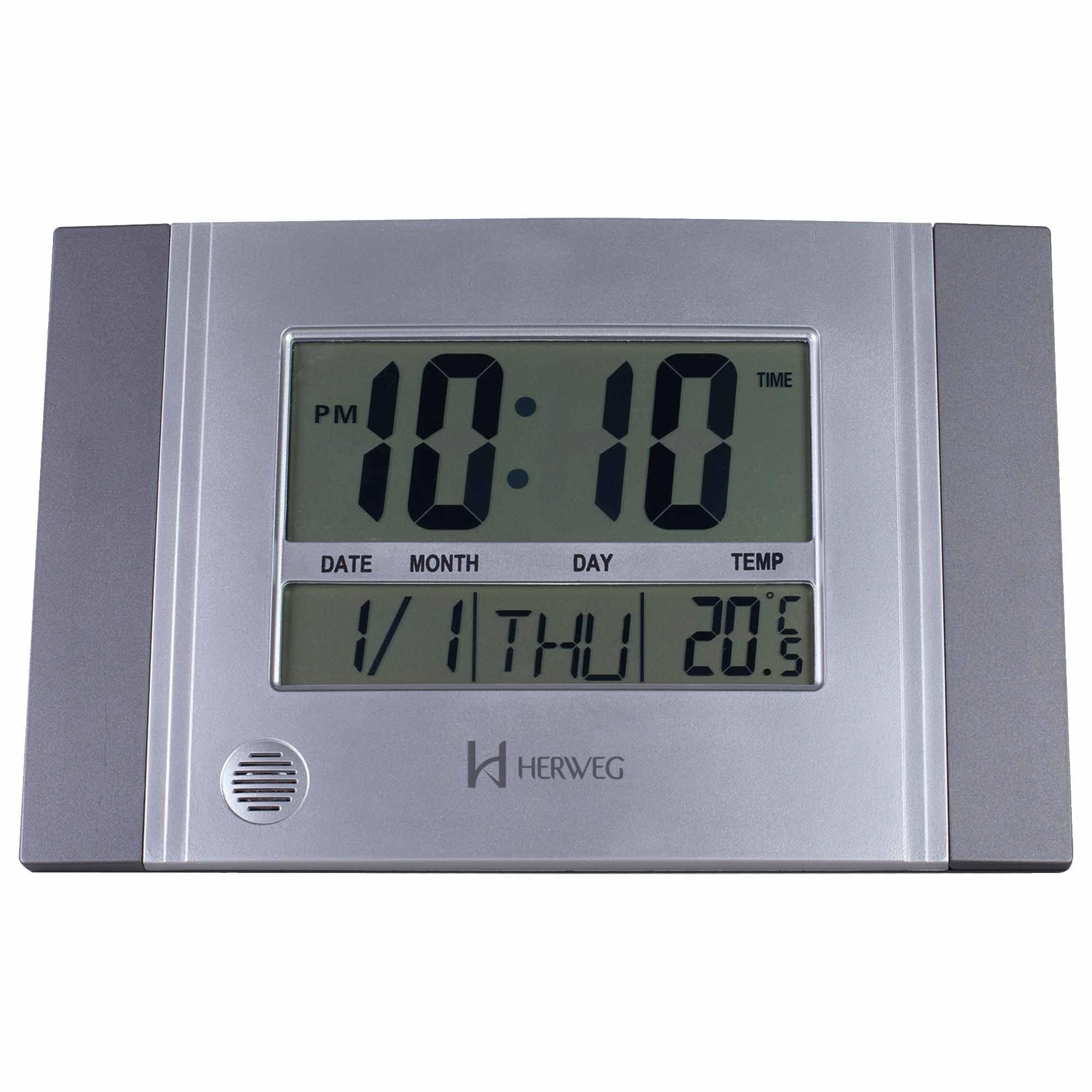 Relógio de Parede Digital Herweg 6472 071 Cinza Metálico