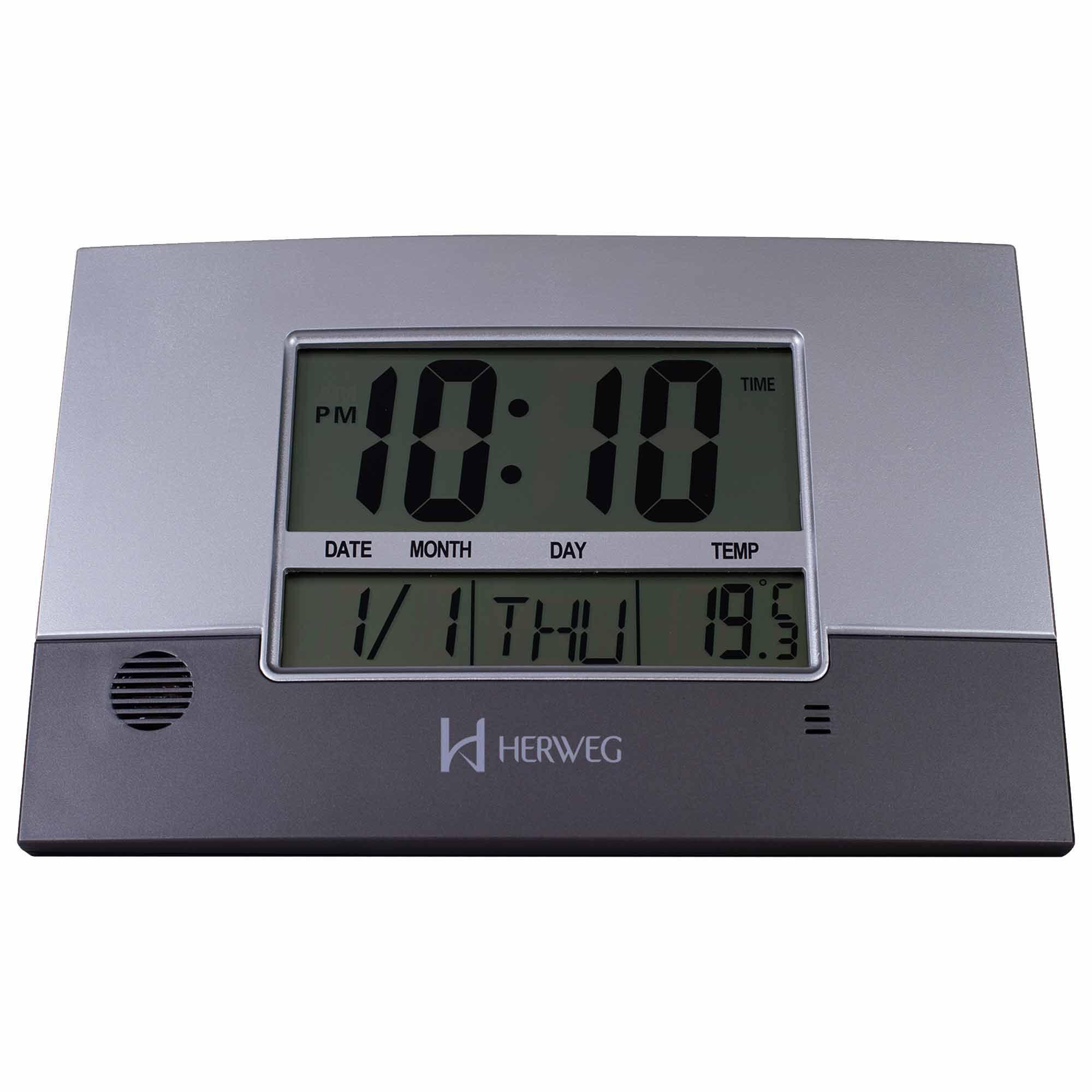 Relógio de Parede Digital Herweg 6473 071 Cinza Metálico