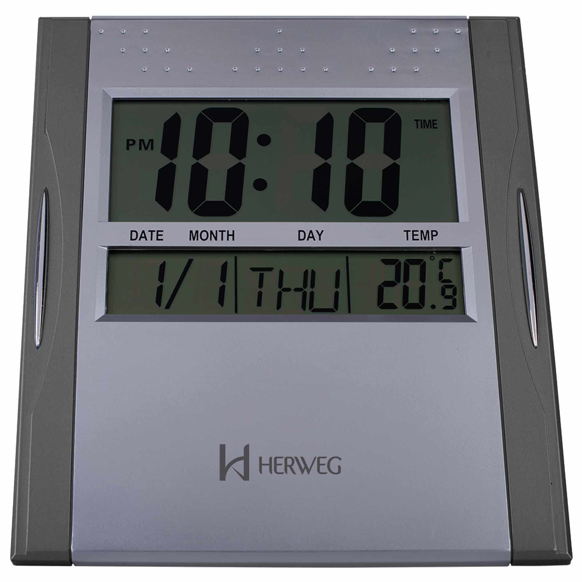 Relógio de Parede Digital Herweg 6474 071 Cinza Metálico