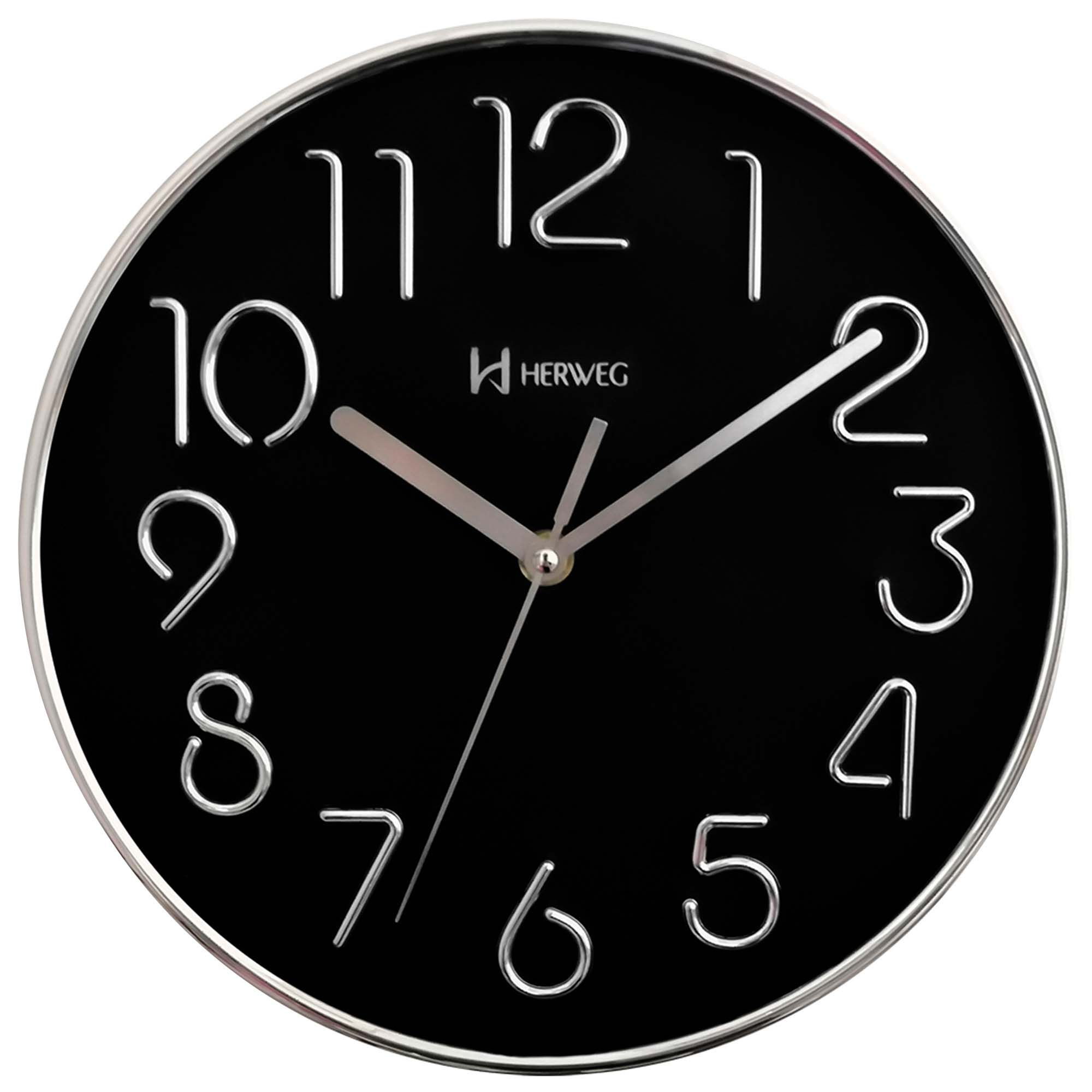 Relógio de Parede Analógico Herweg 6480 028 Cromado