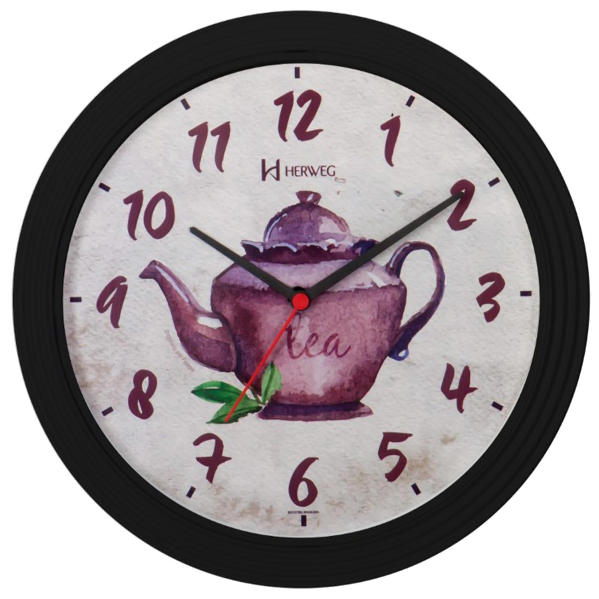 Relógio de Parede Analógico Herweg 660012 035 Preto Brilhante
