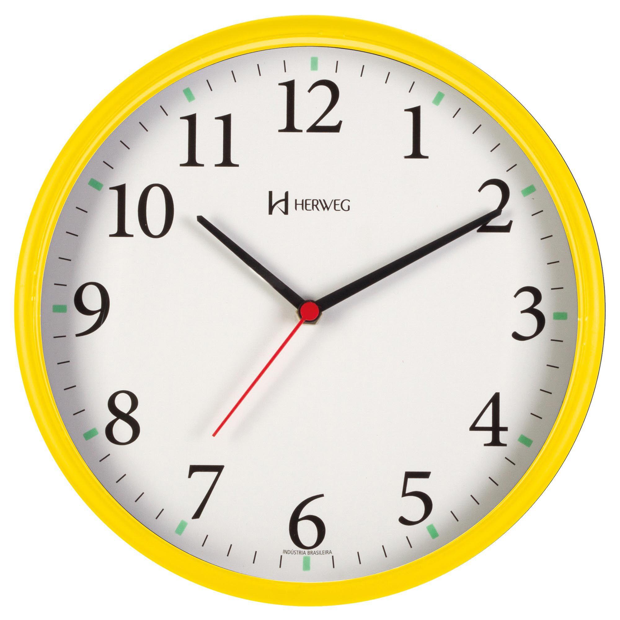Relógio de Parede Analógico Herweg 660022 268 Amarelo Pantone
