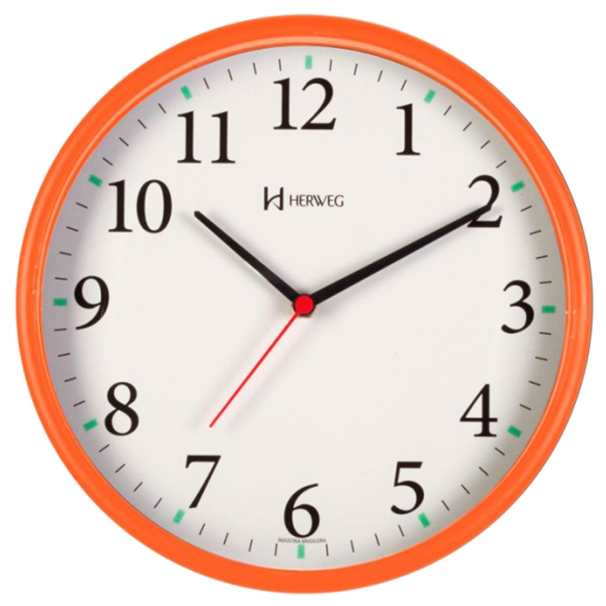 Relógio de Parede Analógico Herweg 660022 270 Laranja Pantone