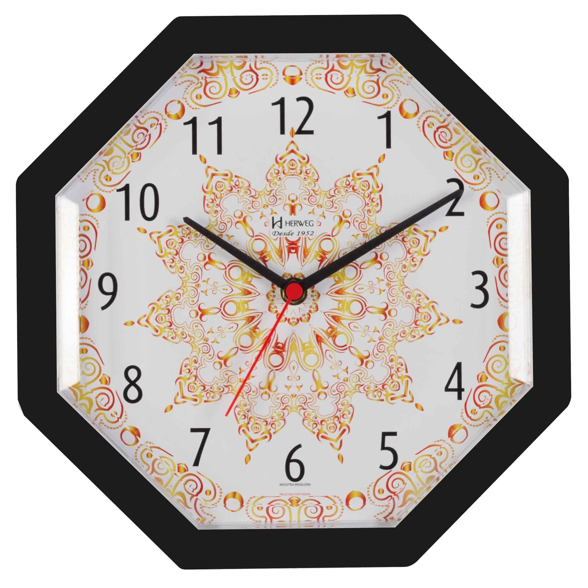 Relógio de Parede Analógico Herweg 660024 034 Preto