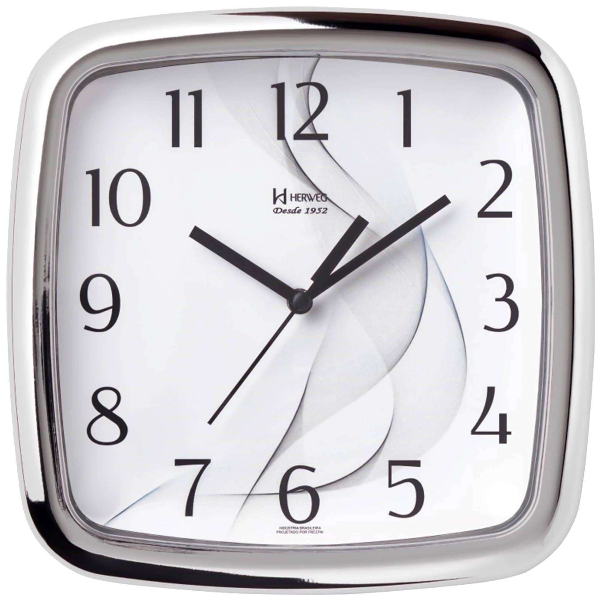 Relógio de Parede Analógico Herweg 660026 028 Cromado