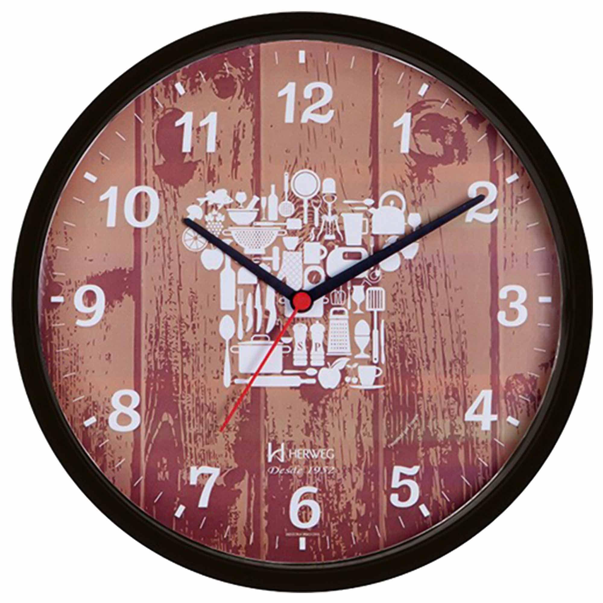 Relógio de Parede Analógico Herweg 660028 034 Preto