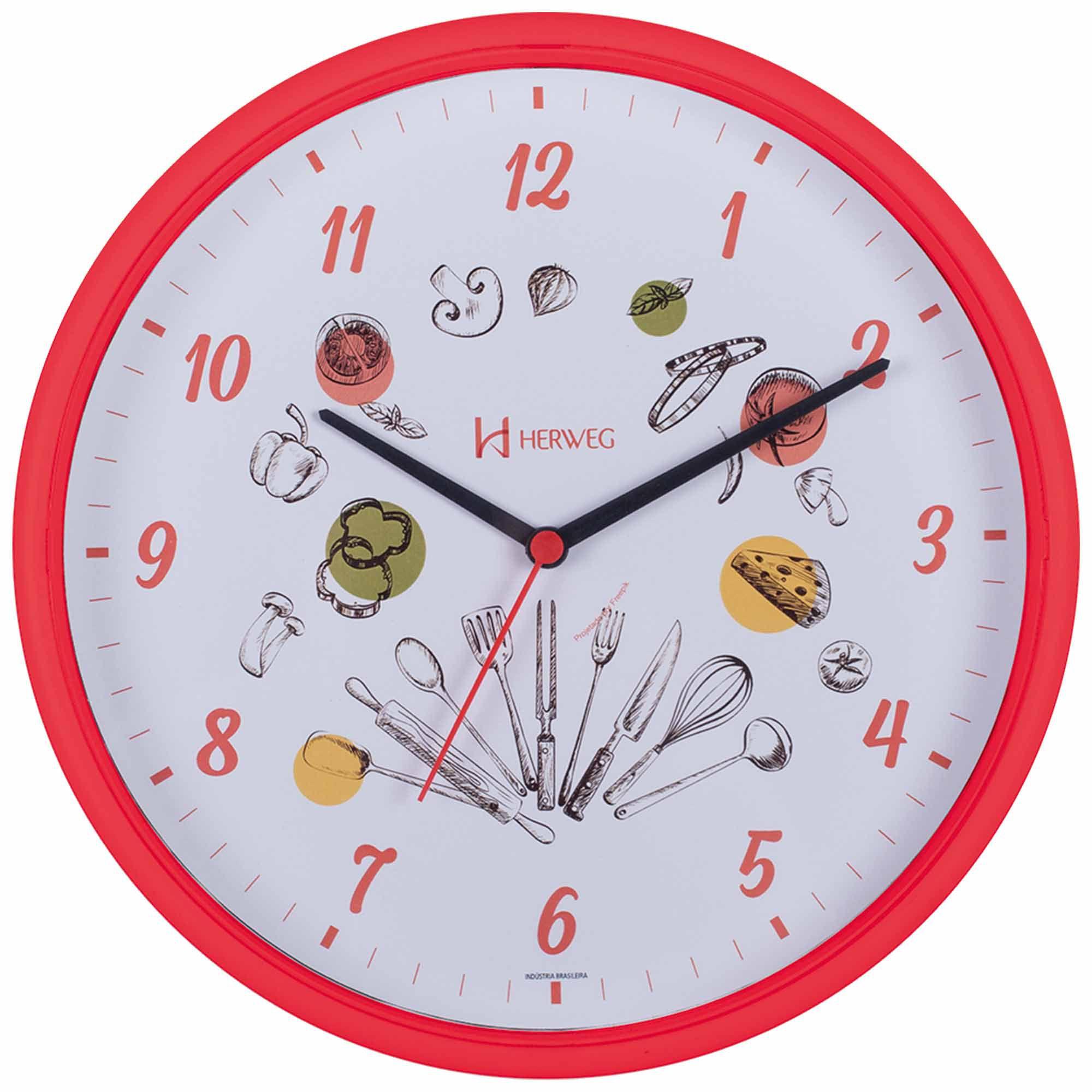 Relógio de Parede Analógico Herweg 660032 269 Vermelho Pantone