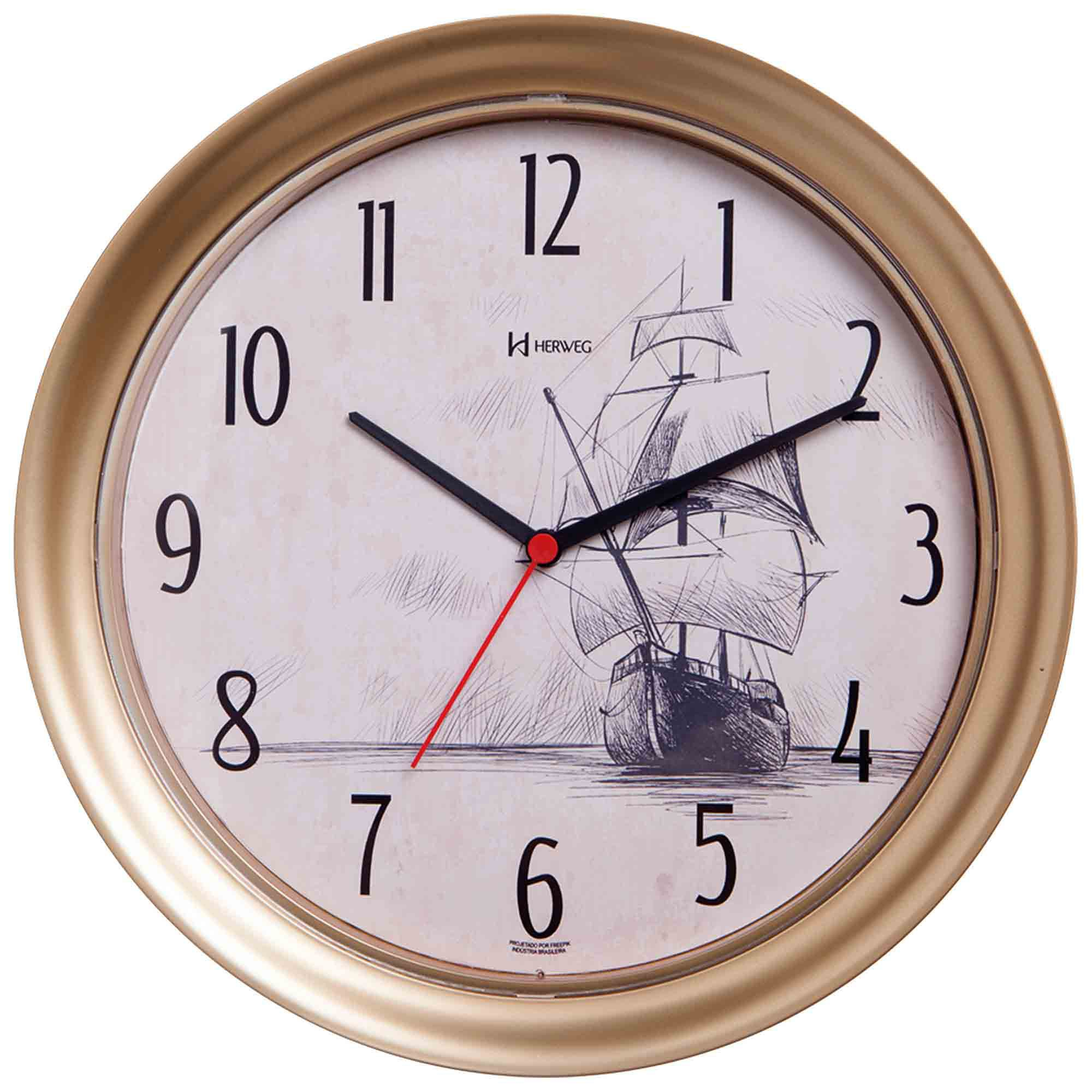 Relógio de Parede Analógico Herweg 660033 318 Dourado Fosco