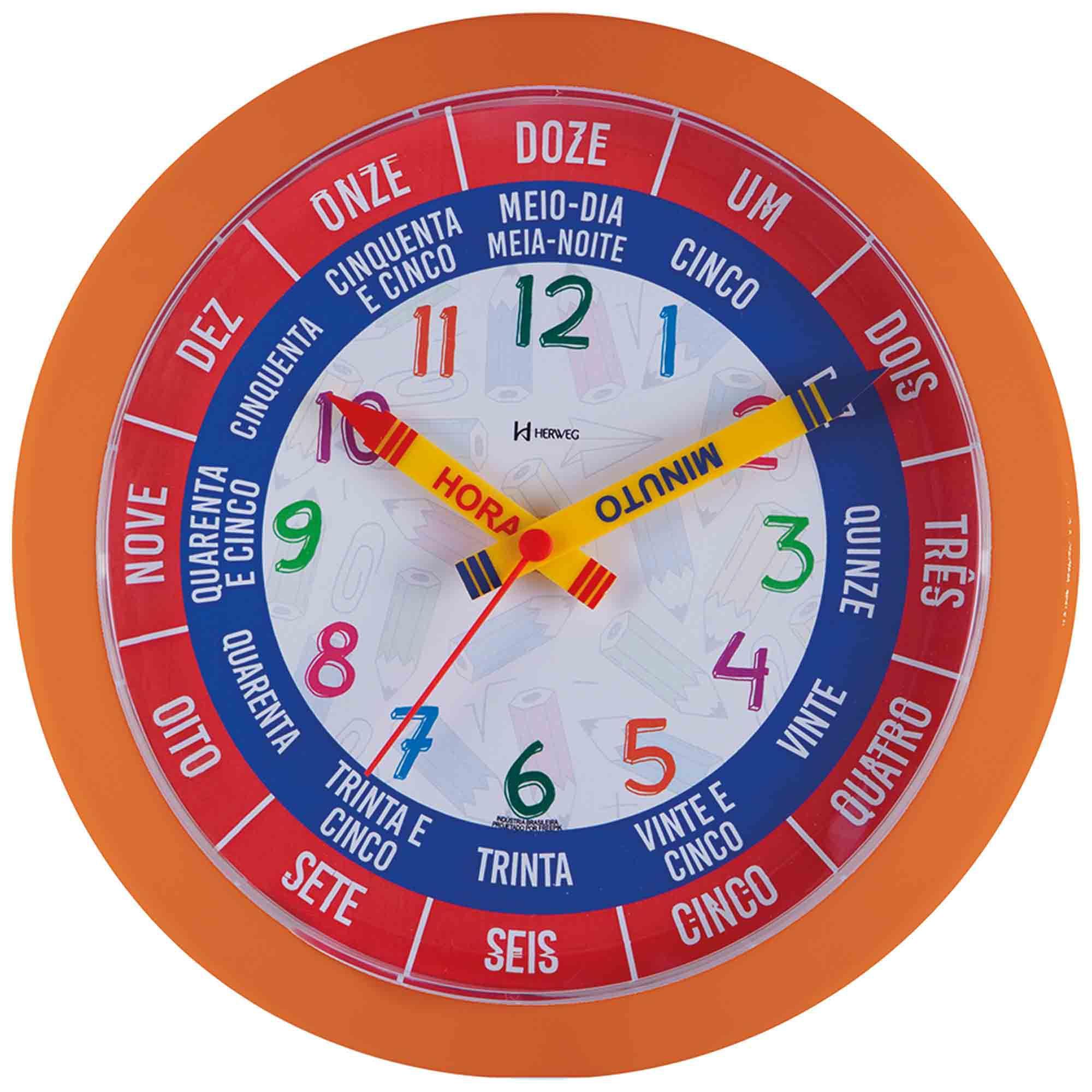 Relógio de Parede Analógico Herweg 660046 270 Laranja Pantone