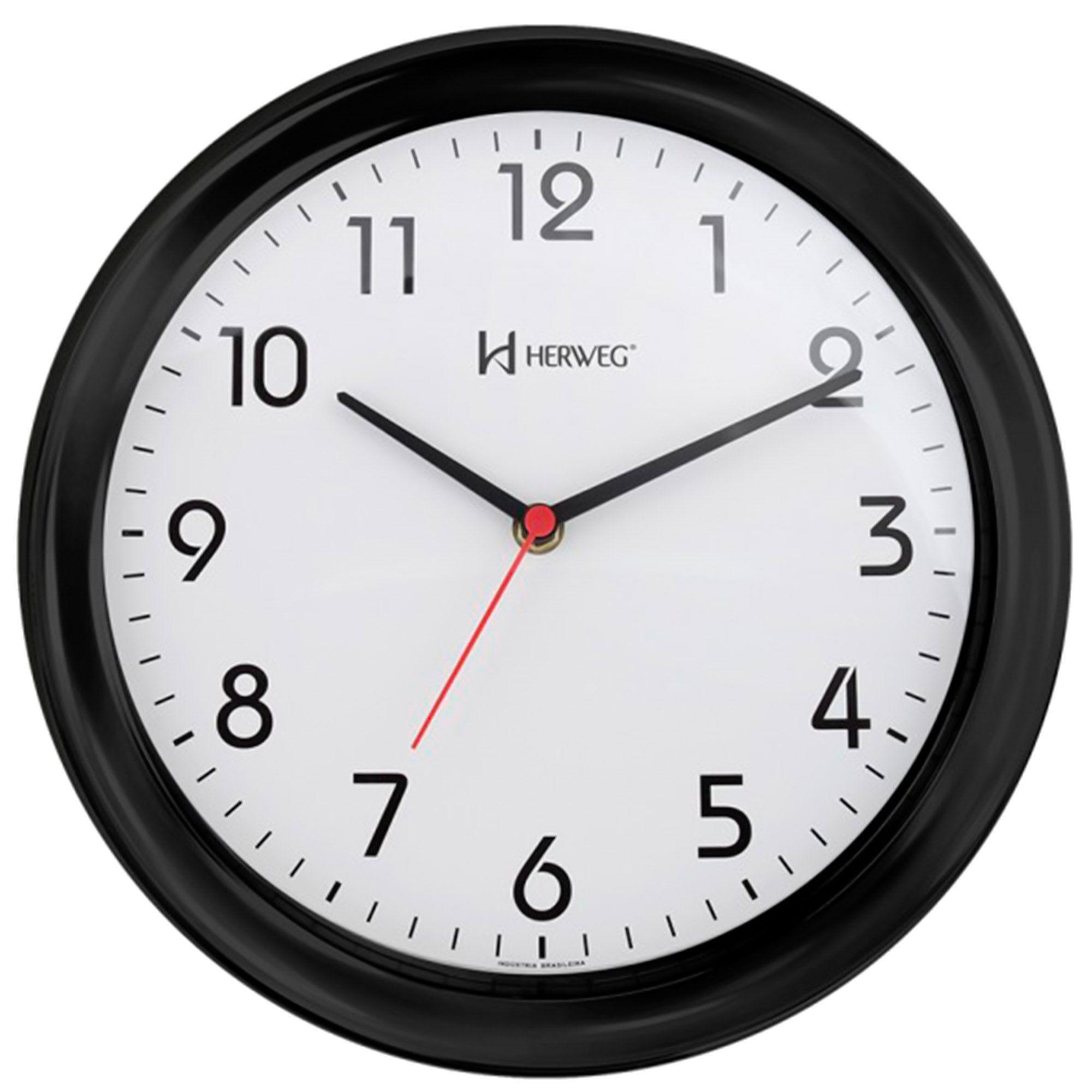 Relógio de Parede Analógico Herweg 6634 035 Preto Brilhante